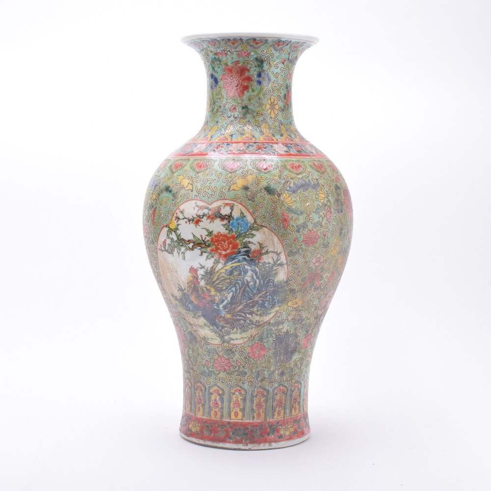 "Chinese Hand-Painted ""Rooster and Peony"" Ceramic Vase"