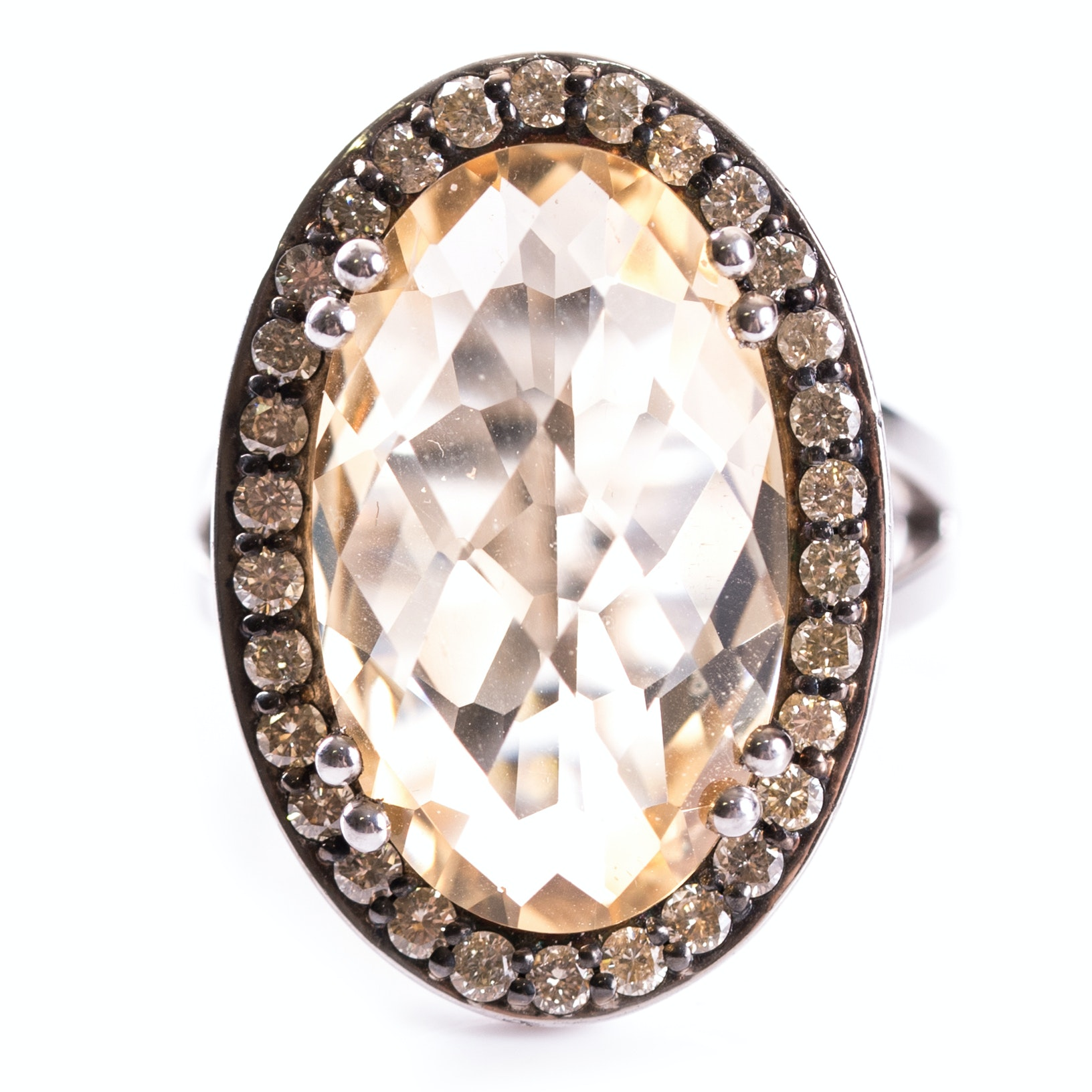 Sterling Silver and Platinum Alloy 8.50 Carat Citrine and Diamond Halo Ring
