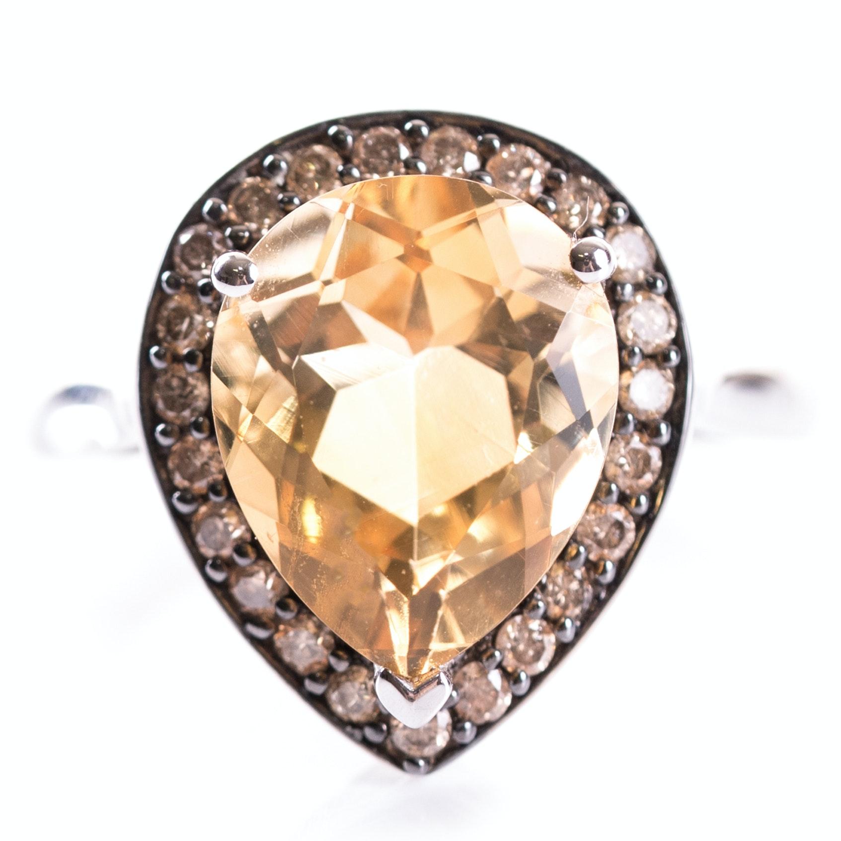 EFFY 14K White Gold, Citrine, and Diamond Ring