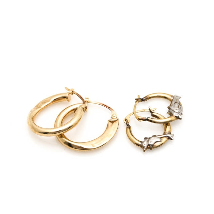 14K and 10K Yellow Gold Hoop Earrings With White Gold Accents