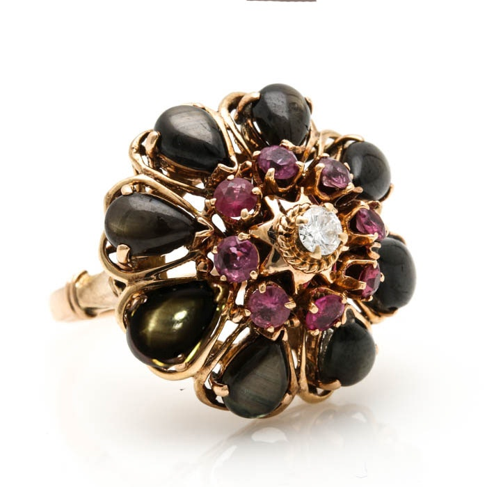14K Yellow Gold Diamond, Ruby and Black Star Sapphire Ring