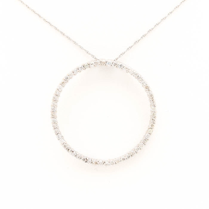 14K White Gold Diamond Open Circle Pendant Necklace