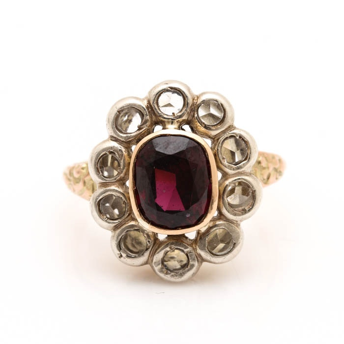 Georgian 18K Yellow Gold and Base Metal Rhodolite Garnet and White Sapphire Ring