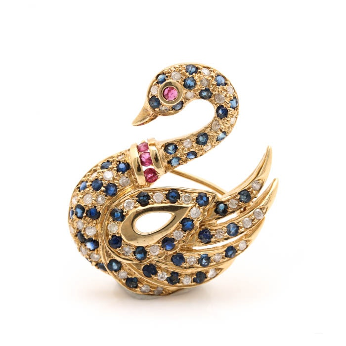 14K Yellow Gold Diamond and Gemstone Swan Pendant Brooch