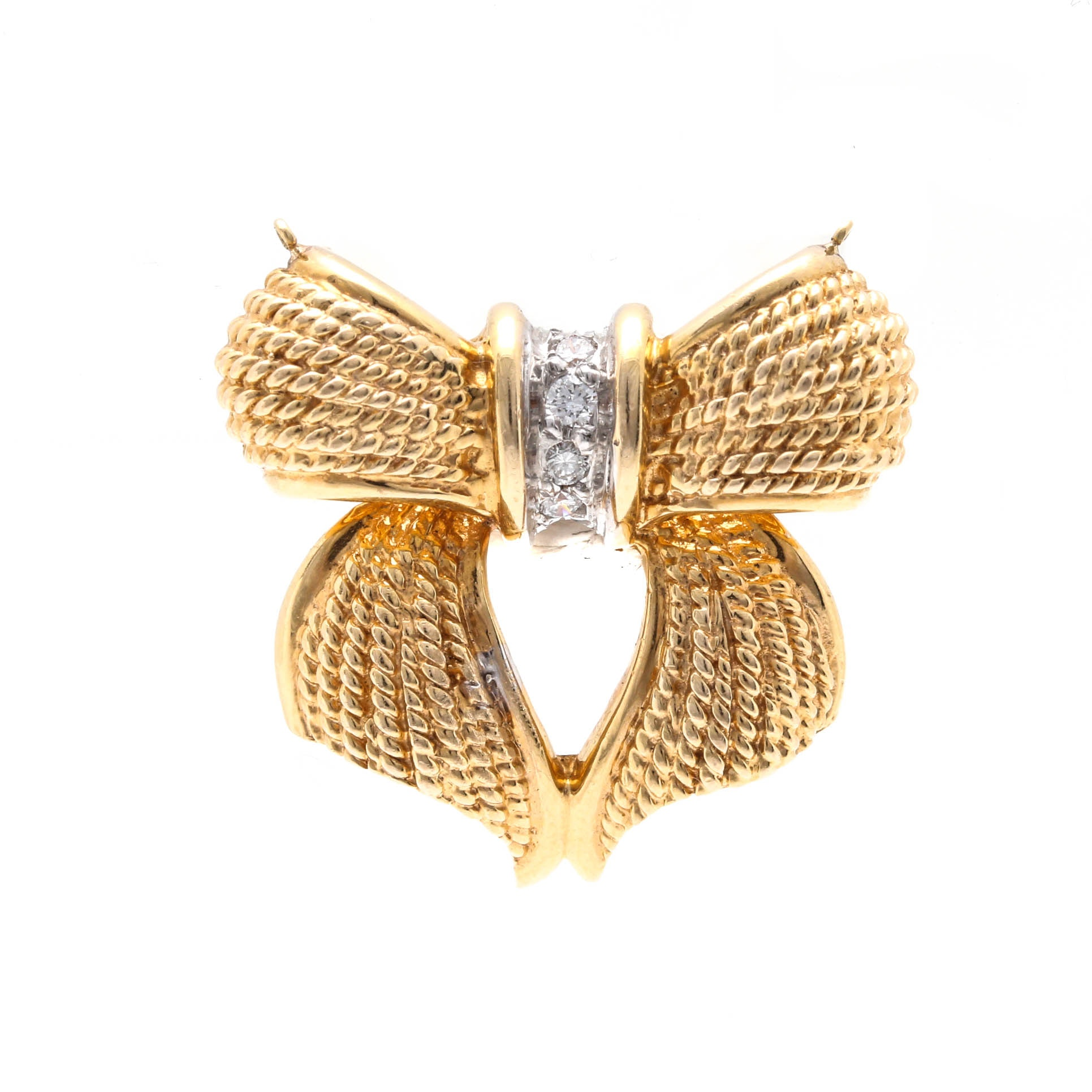 14K Yellow Gold Bow Pendant With Diamond Accents