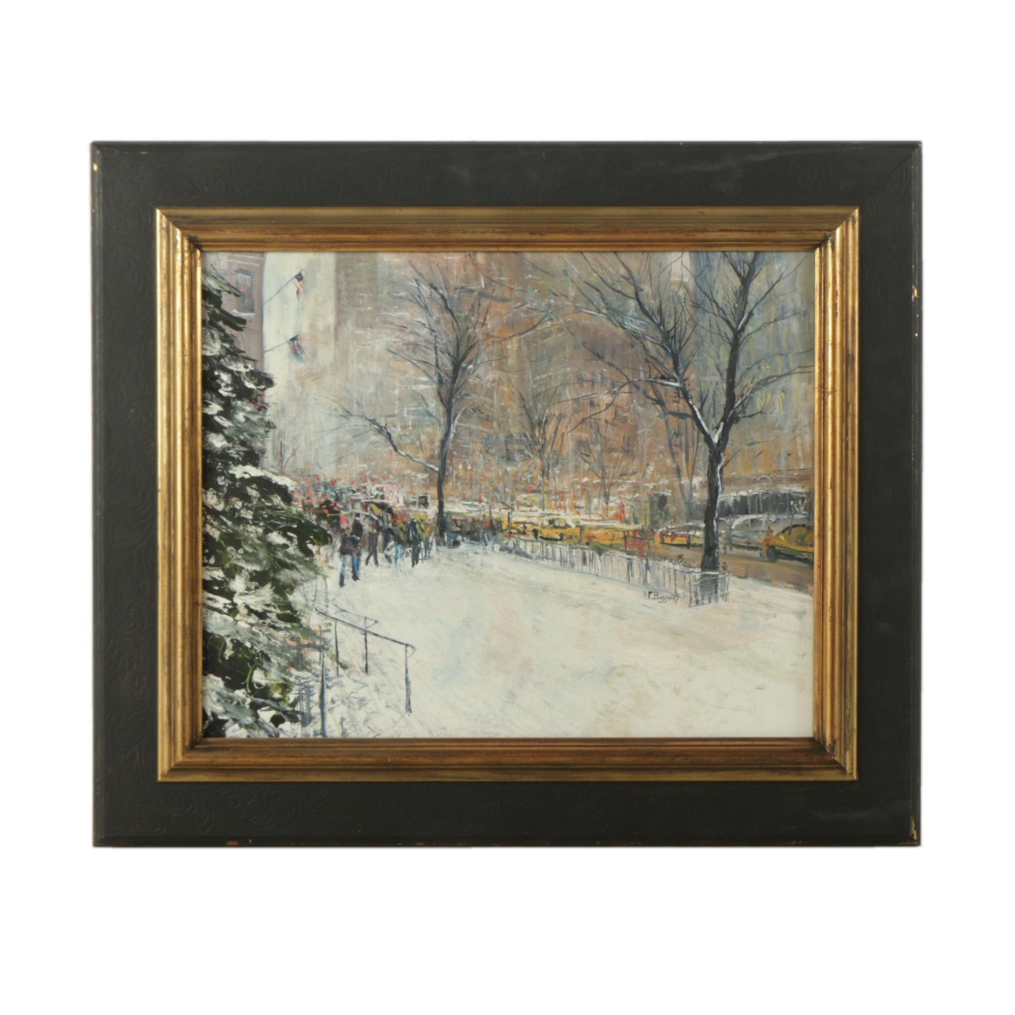 """Frank Baggett Oil Painting on Board """"Early Morning Rush Hour"""""""