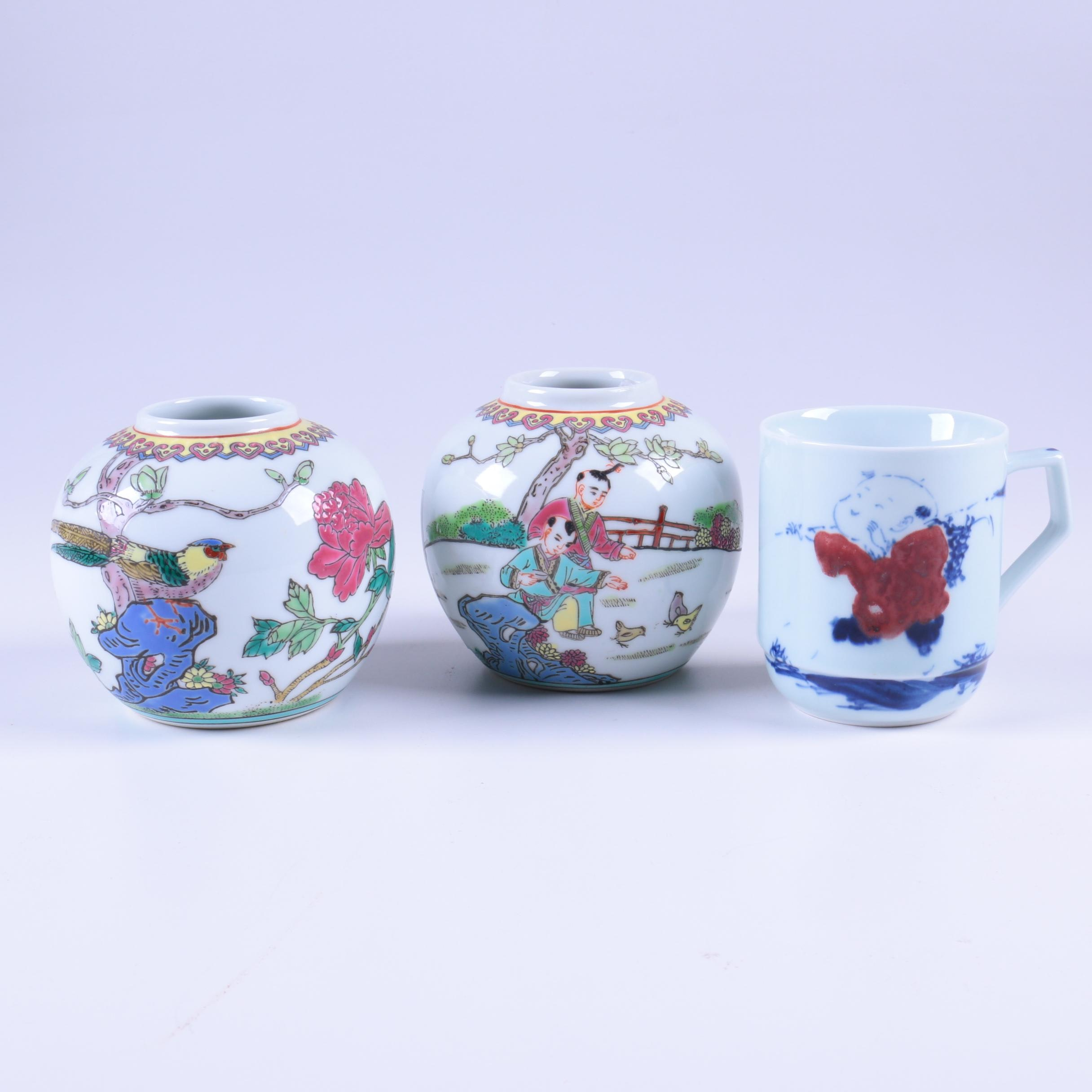 Chinese Hand Painted Porcelain Spherical Vases with Mug