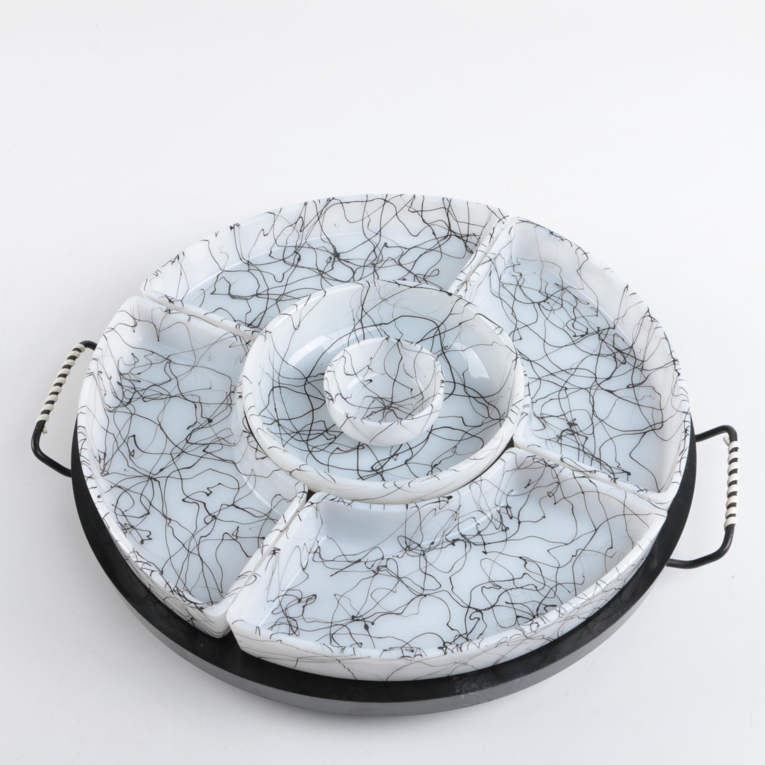 Mid Century Modern Lazy Susan Chip and Dip Tray
