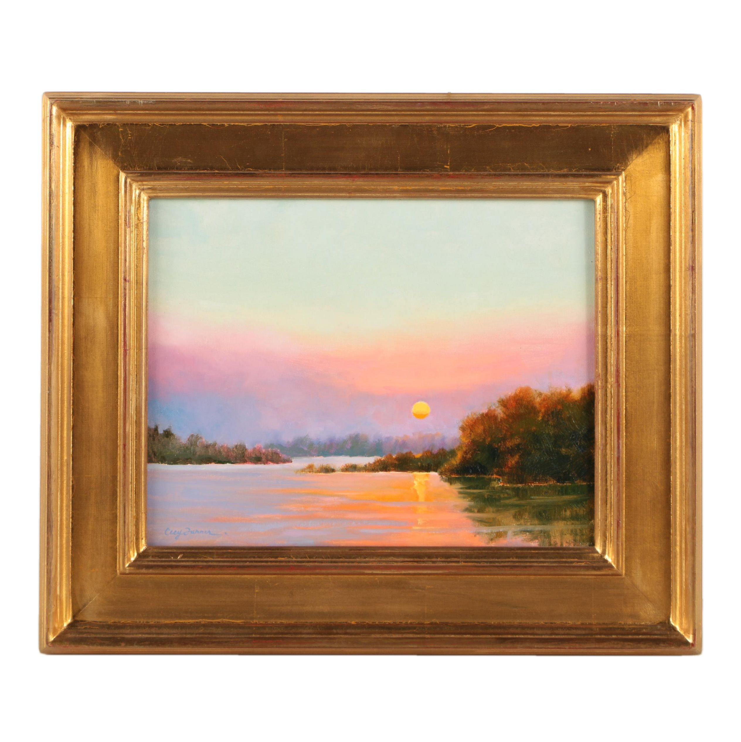Cecy Turner Oil Painting on Canvas of Sunset