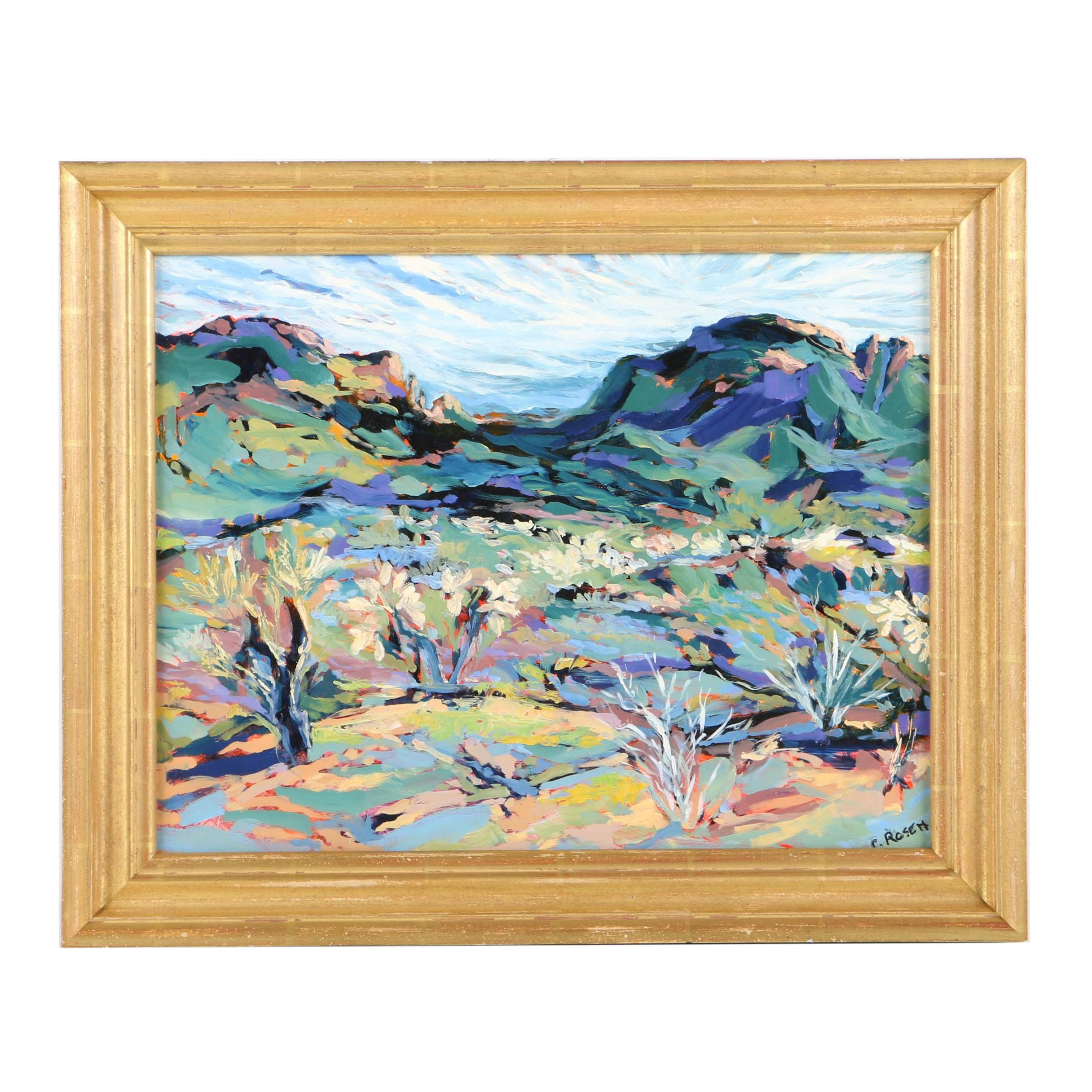 Rosen Oil Painting on Board of an Abstract Mountain Landscape