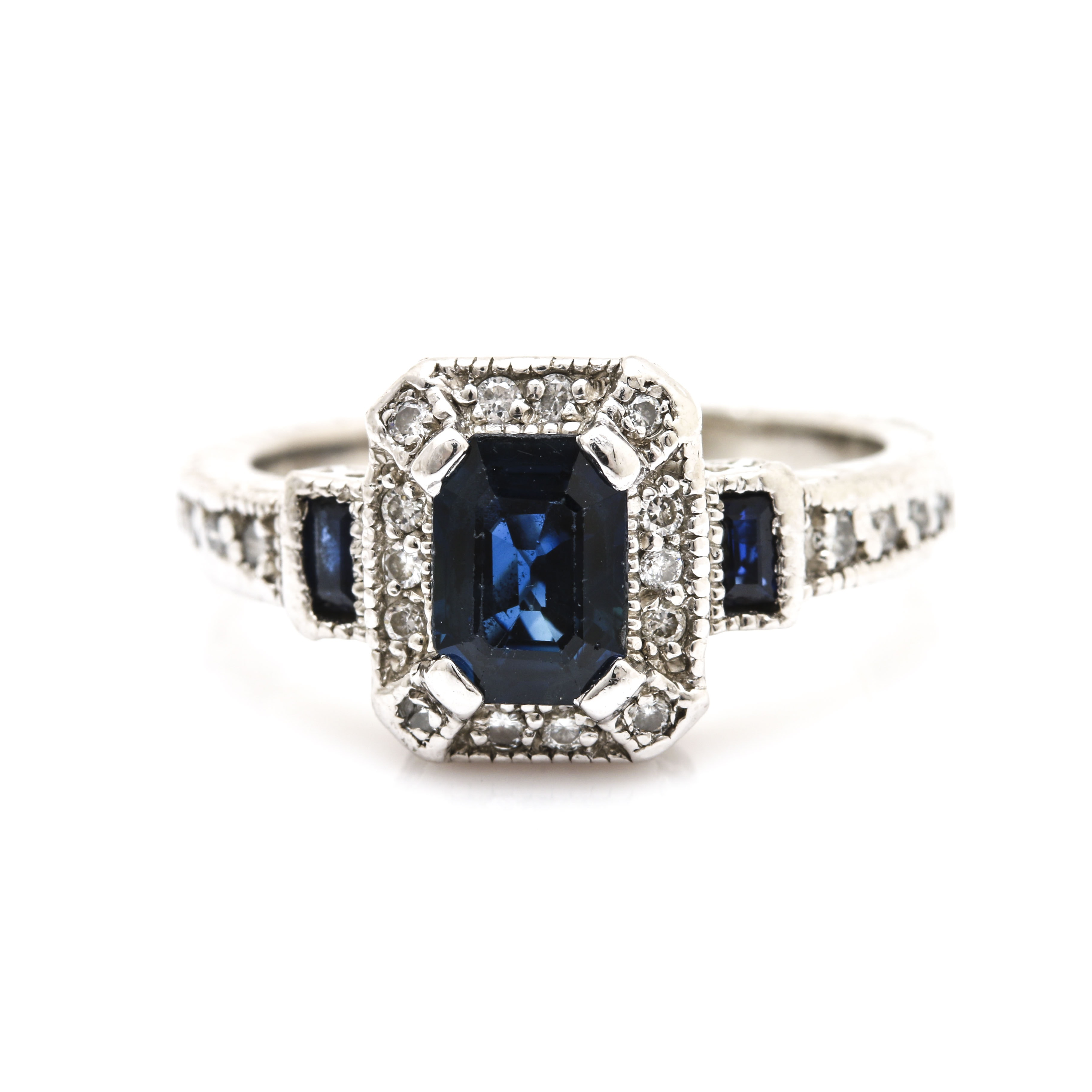 Ziva Platinum Sapphire and Diamond Ring