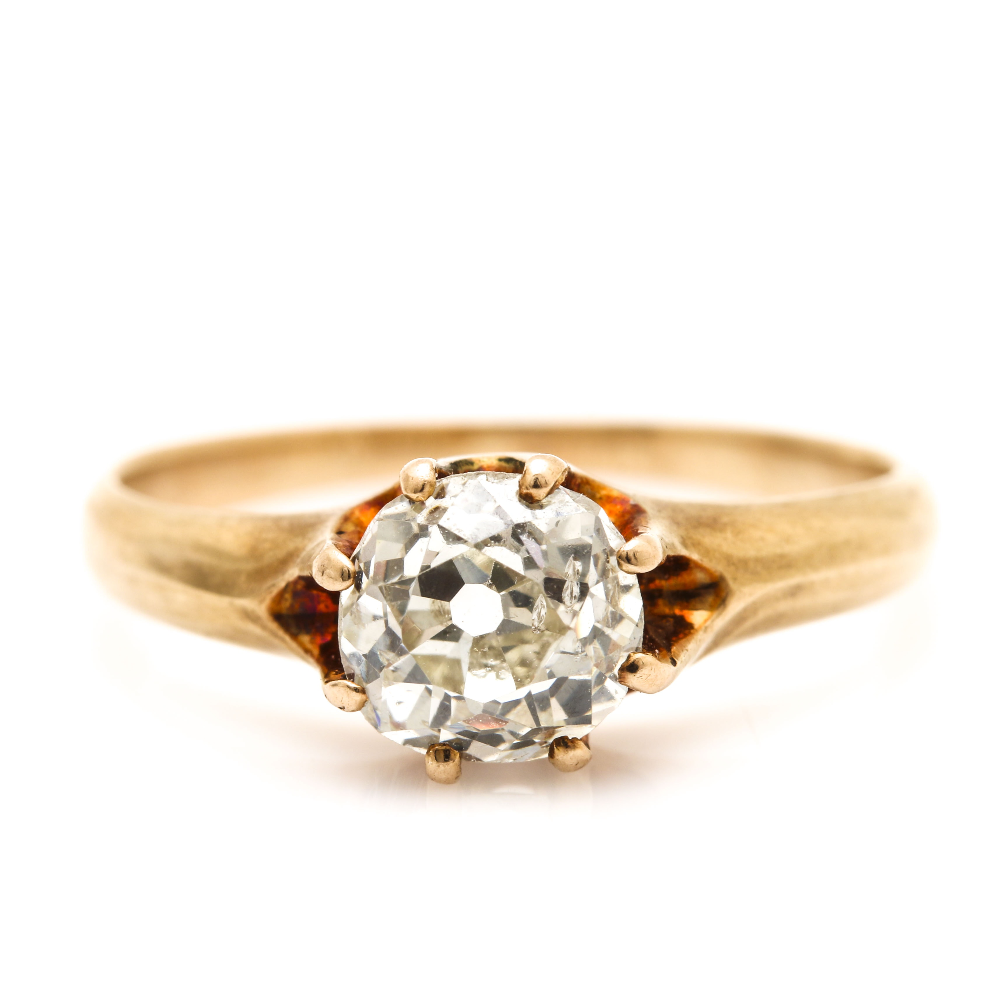 Early 1900's 14K Yellow Gold Diamond Belcher Ring