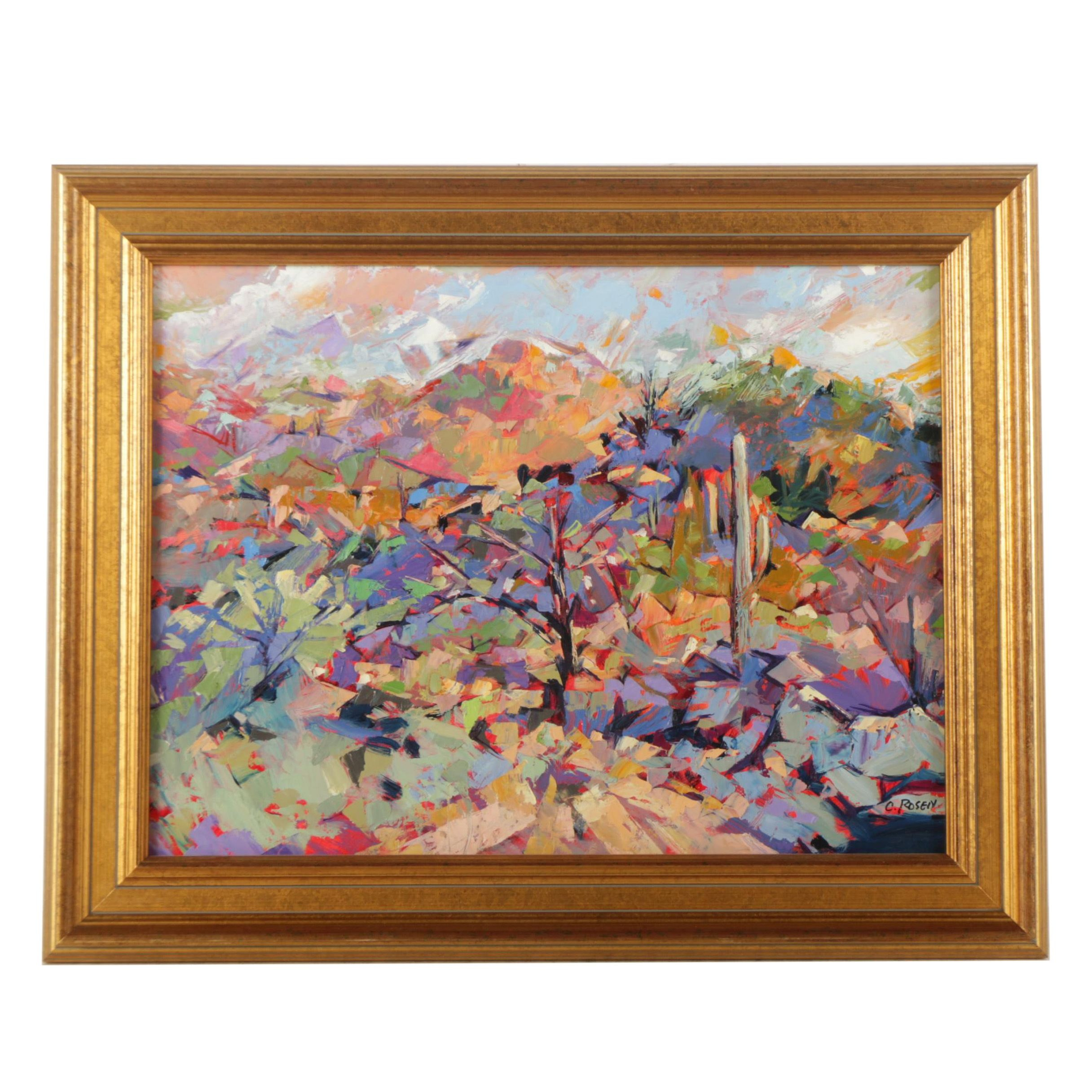 C. Rosen Oil Painting on Board of an Abstract Landscape