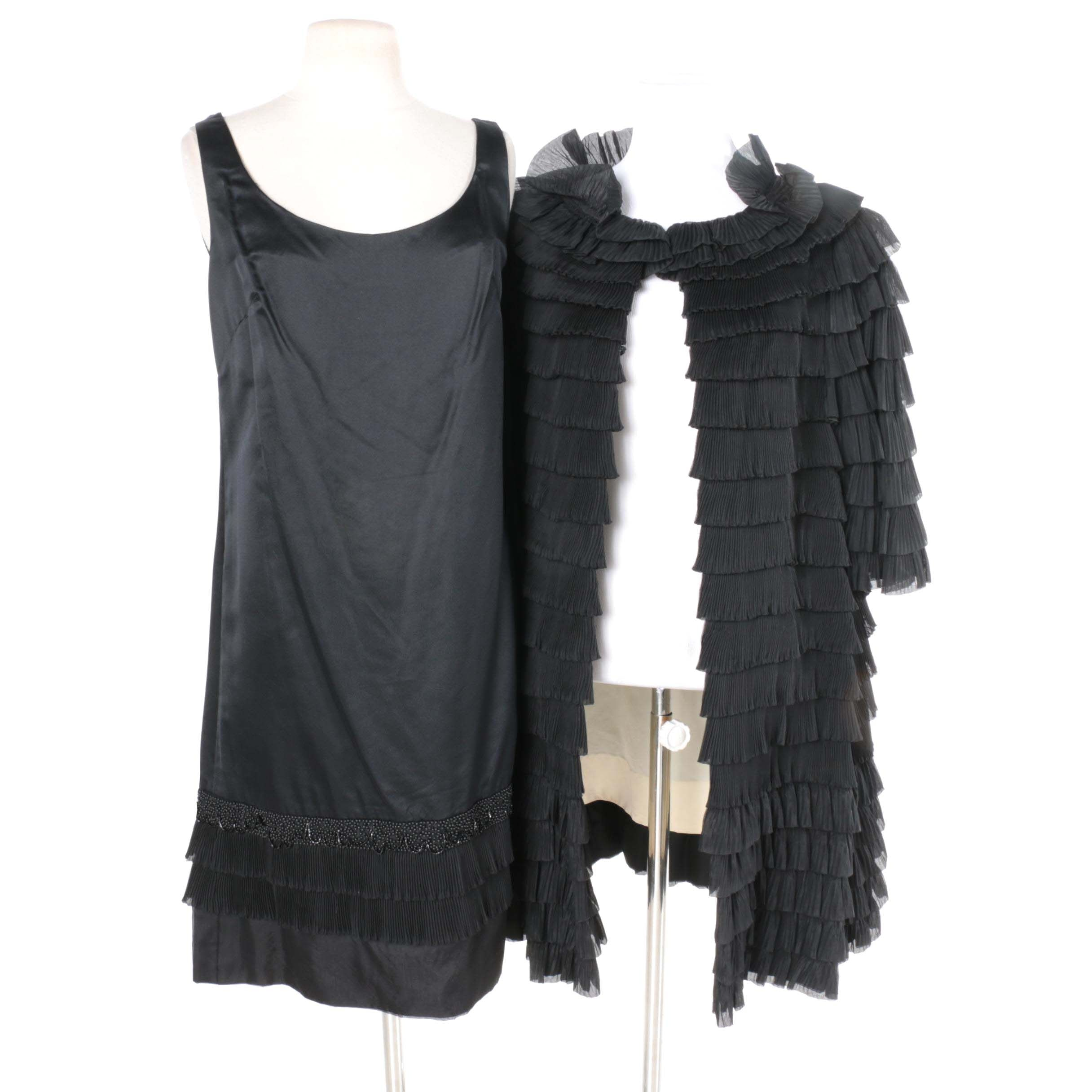 Vintage Heiser Beaded Black Satin Flapper Dress and Matching Open-Front Coat