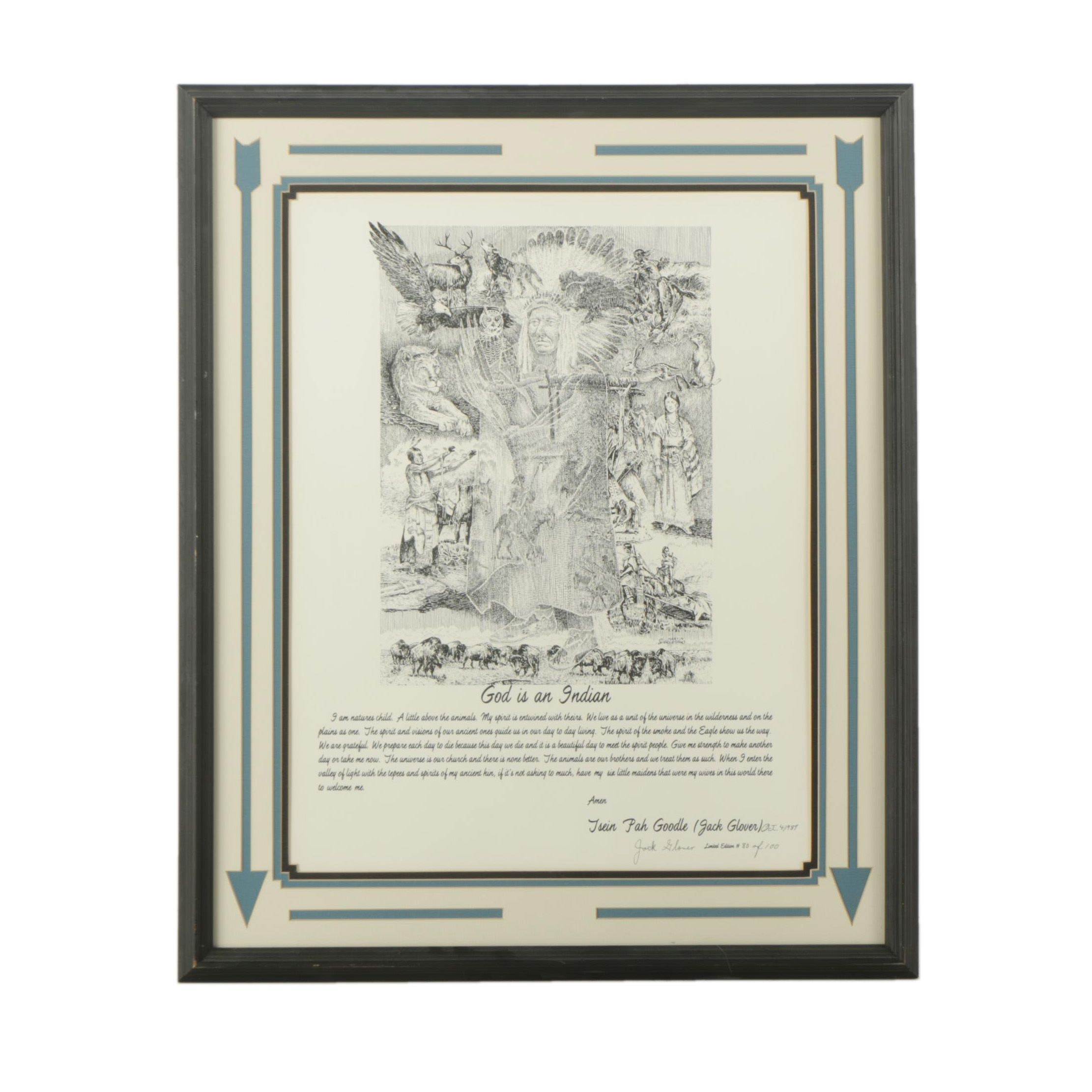 "Jack Glover Limited Edition Lithograph on Paper ""God is an Indian"""