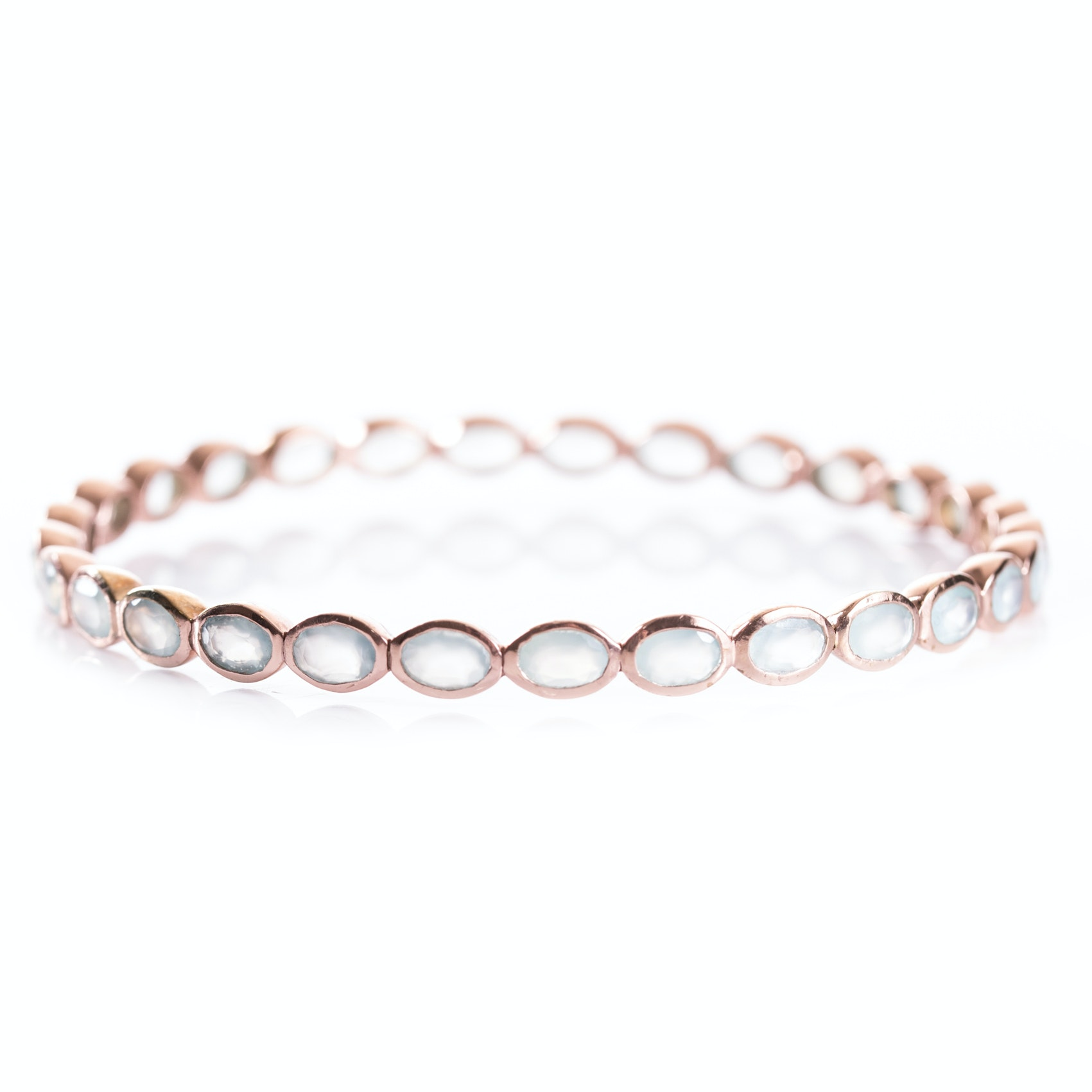 Rose Gold Wash Sterling Silver and Chalcedony Bangle Bracelet