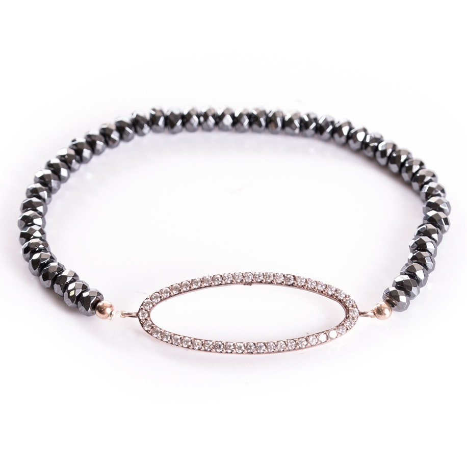 Rose Gold Wash Sterling Silver, Cubic Zirconia, and Hematite Bracelet