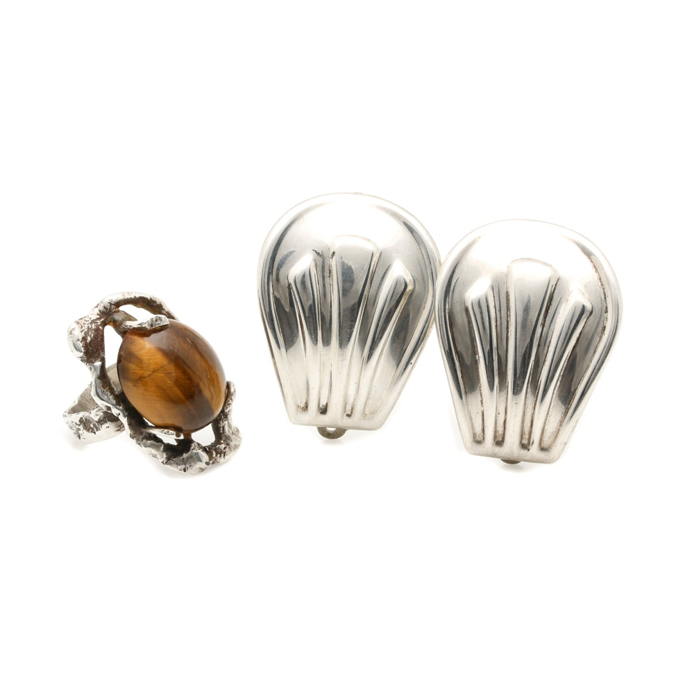 Sterling Silver Earrings and Tiger's Eye Ring