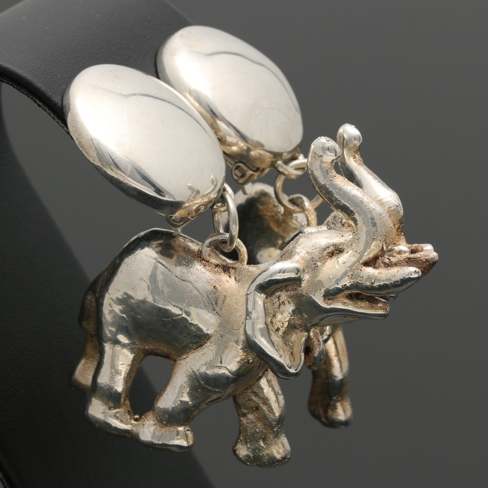 Susan Cummings Sterling Silver Elephant Earrings