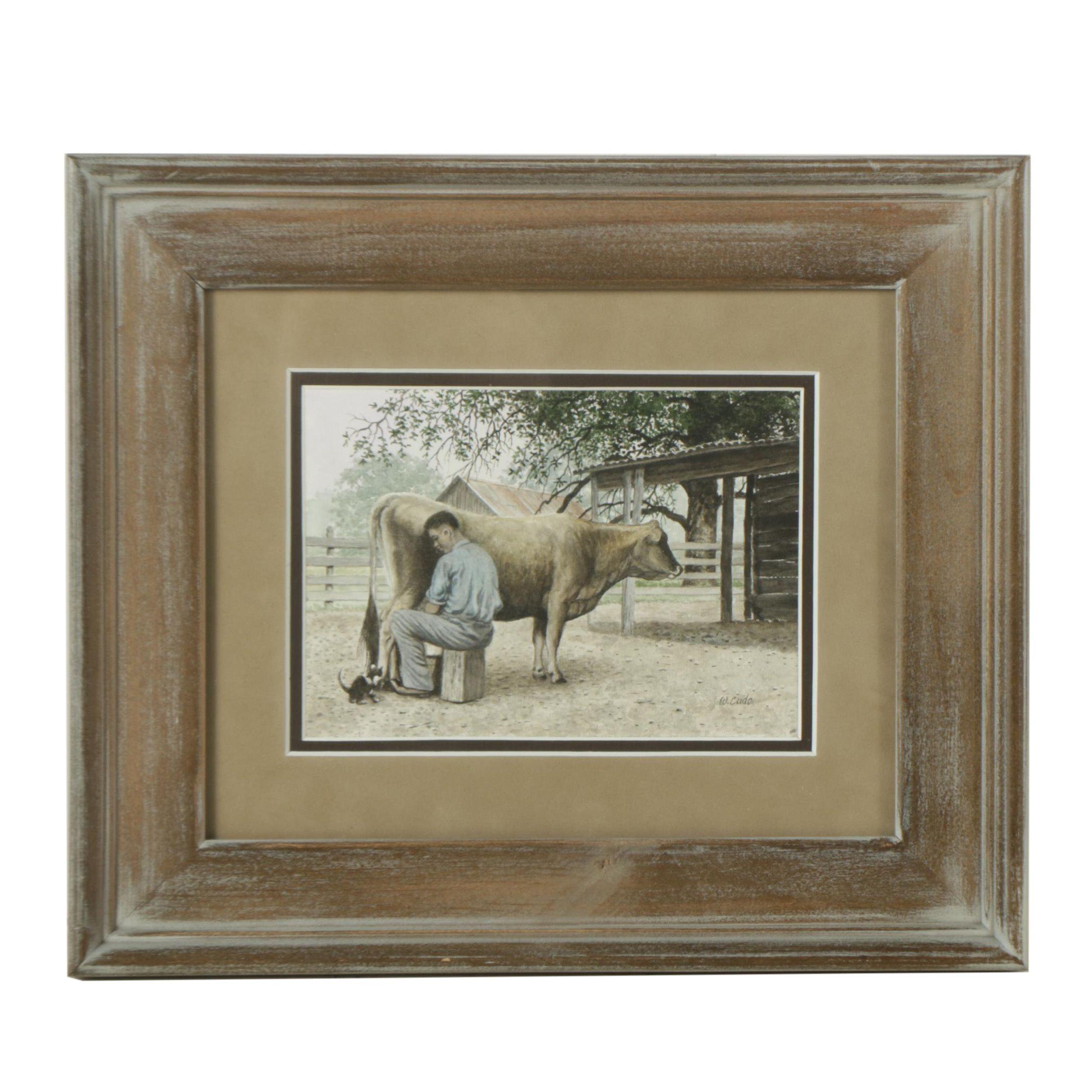 Walt Cude Watercolor Painting on Paper of Farm Scene