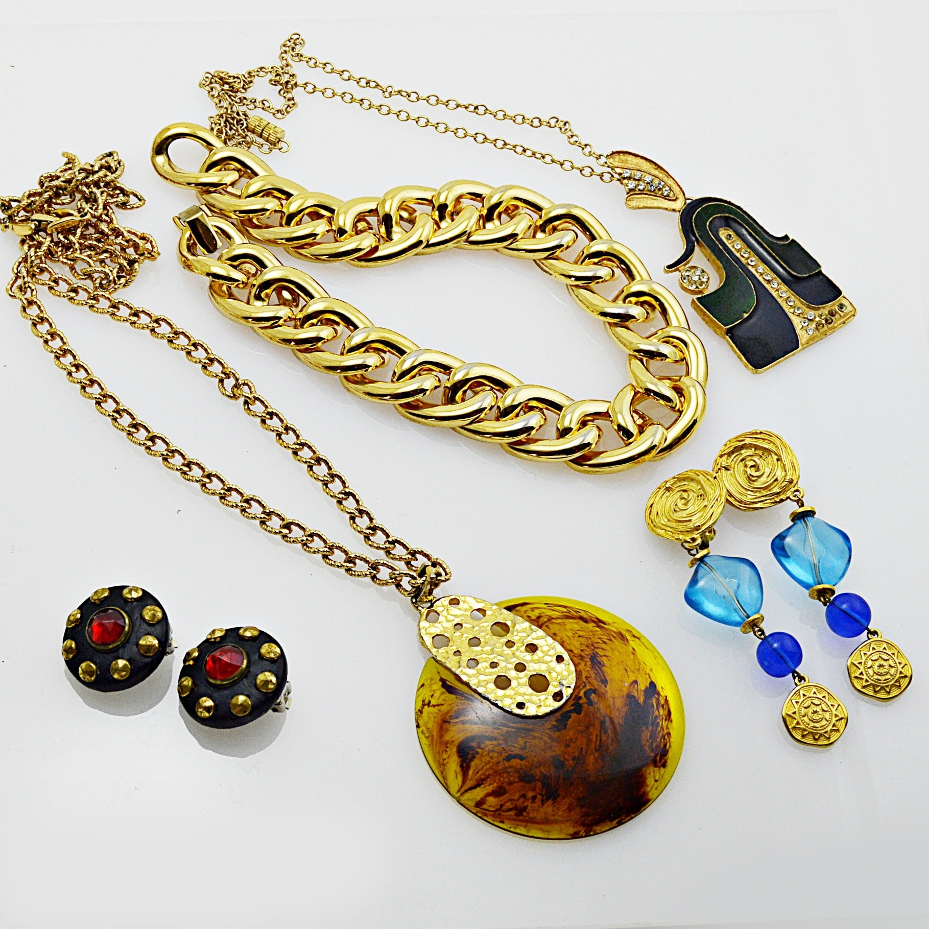 1980s Gold Tone Jewelry Selection