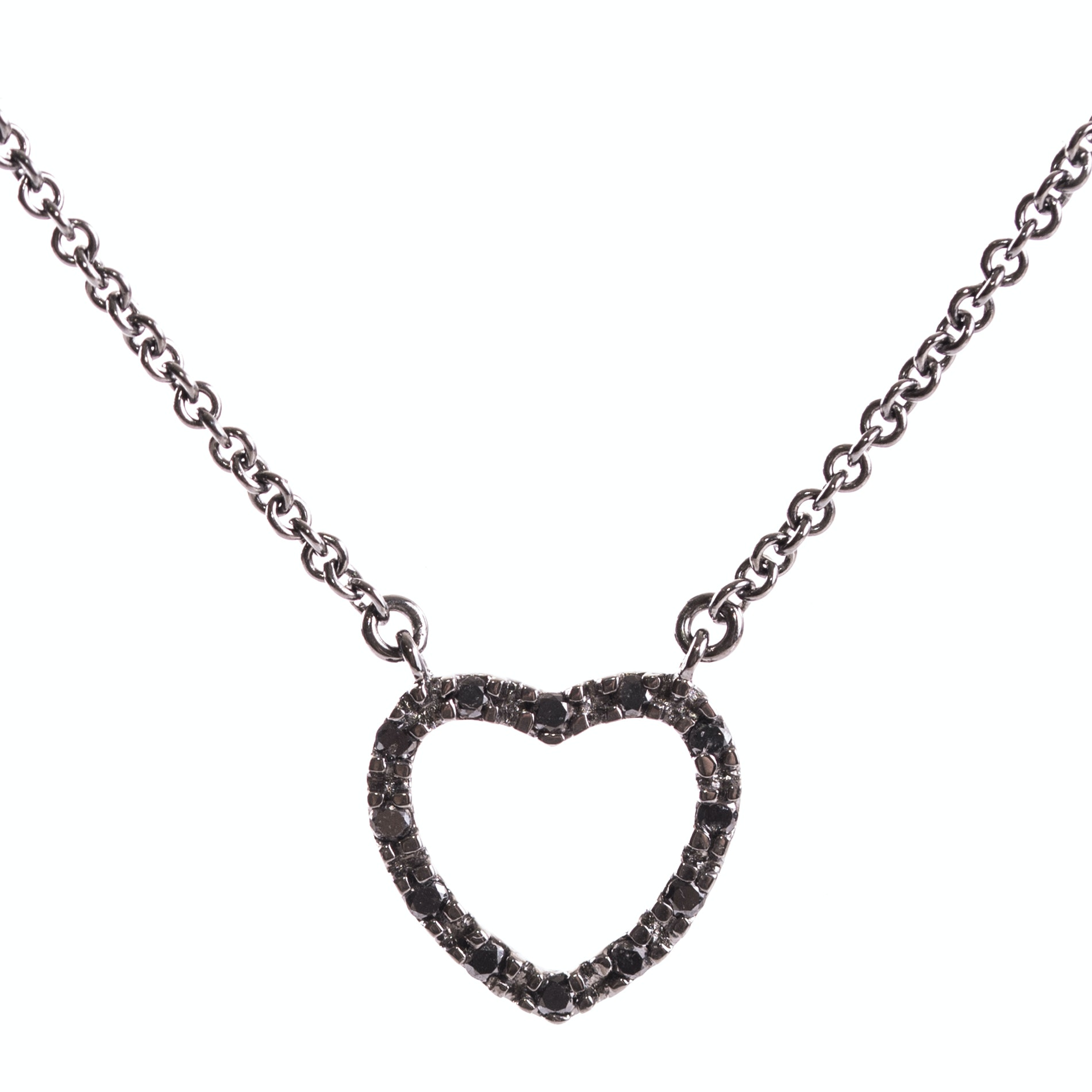 Oxidized Sterling Silver and Diamond Pendant Necklace