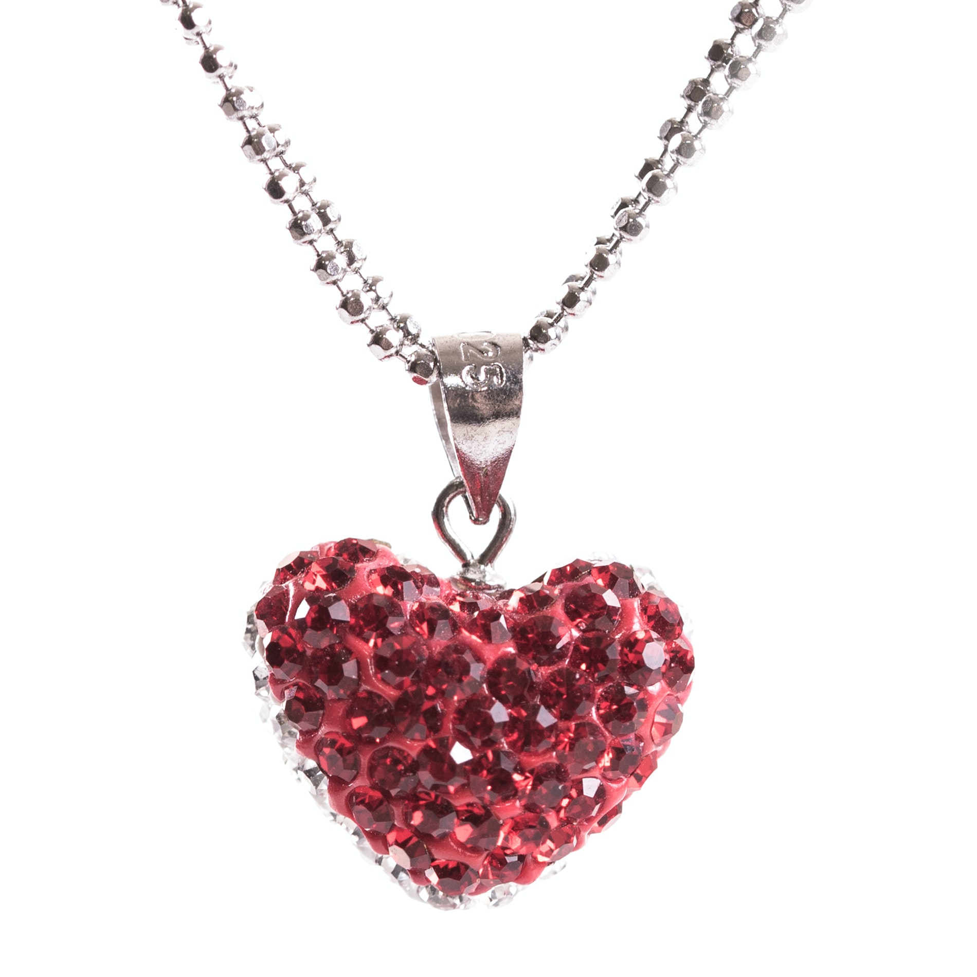 Sterling Silver and Crystal Heart Pendant Necklace
