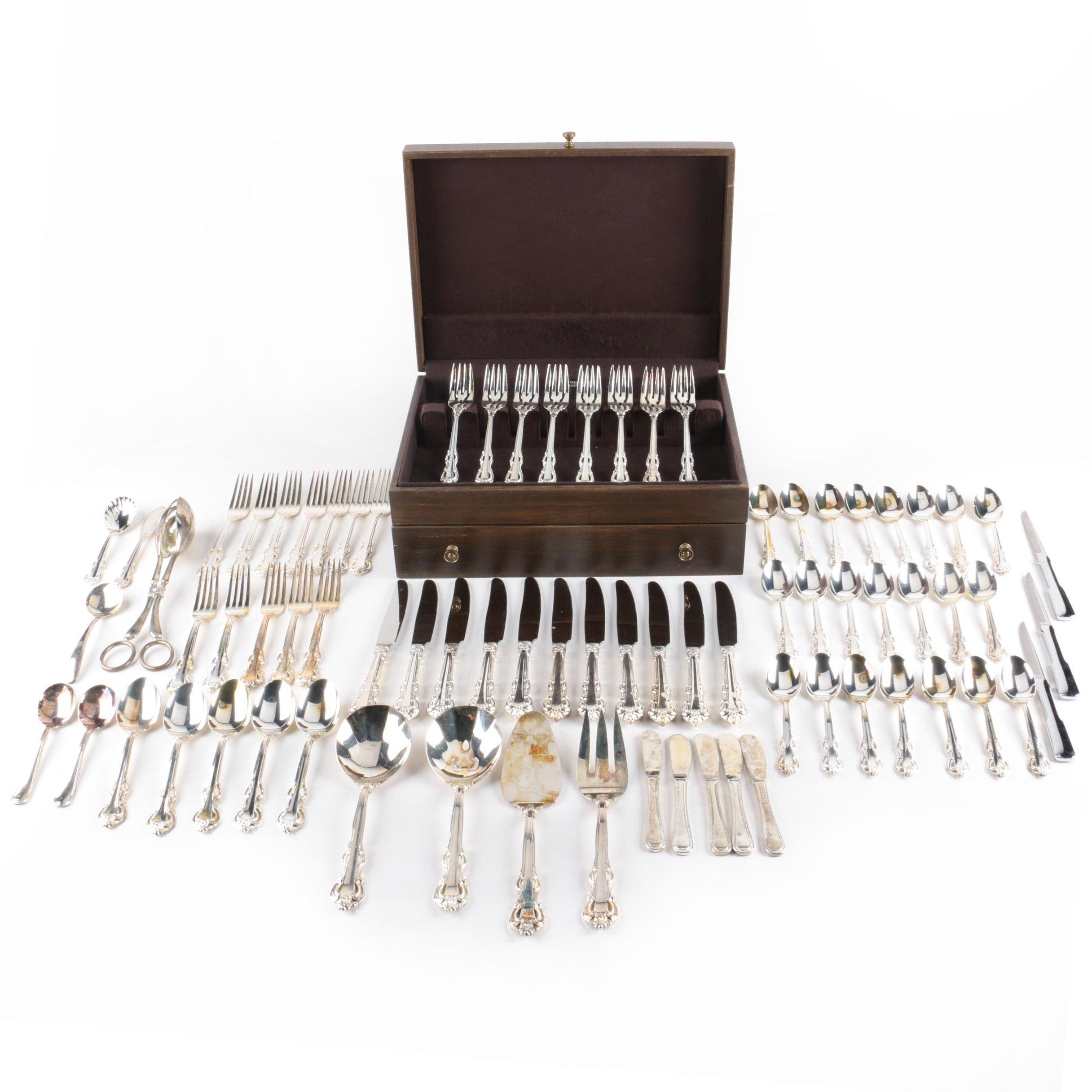 "Towle ""King Arthur"" Stainless Steel Flatware Set with Assorted Silver Plate"