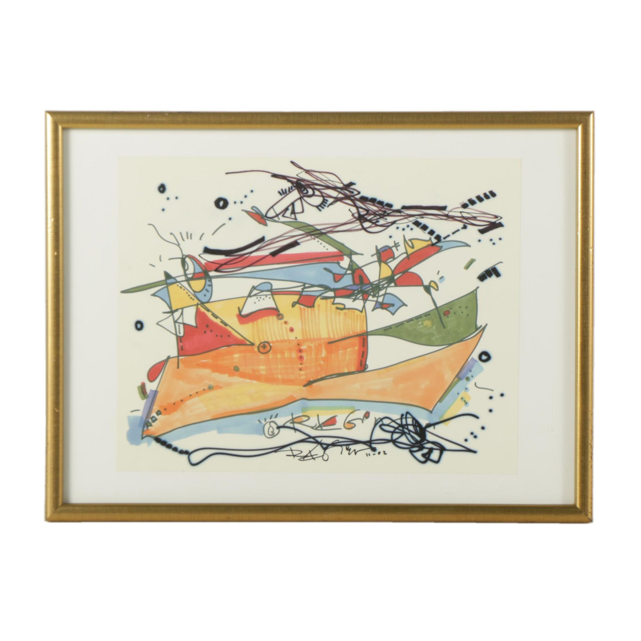"""Regia Marinho Giclee on Paper """"The Boats Always Go By"""""""