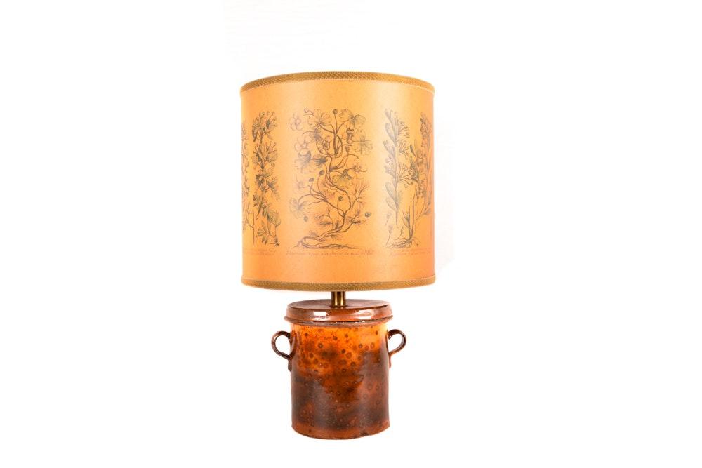 Vintage Ceramic Table Lamp with Botanical Illustrations
