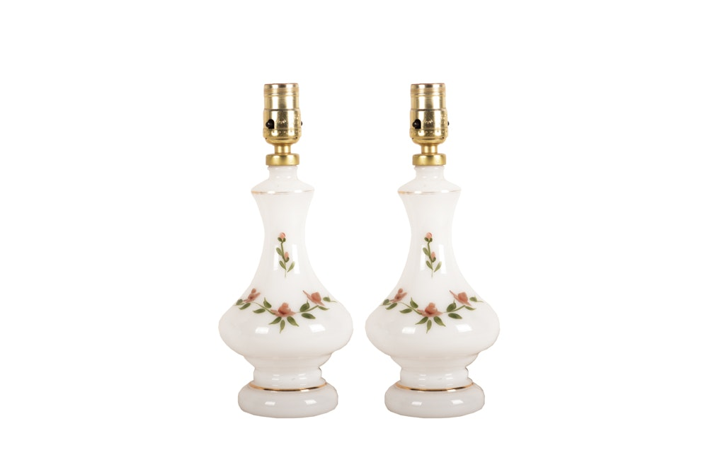 Vintage Floral Glass Table Lamps