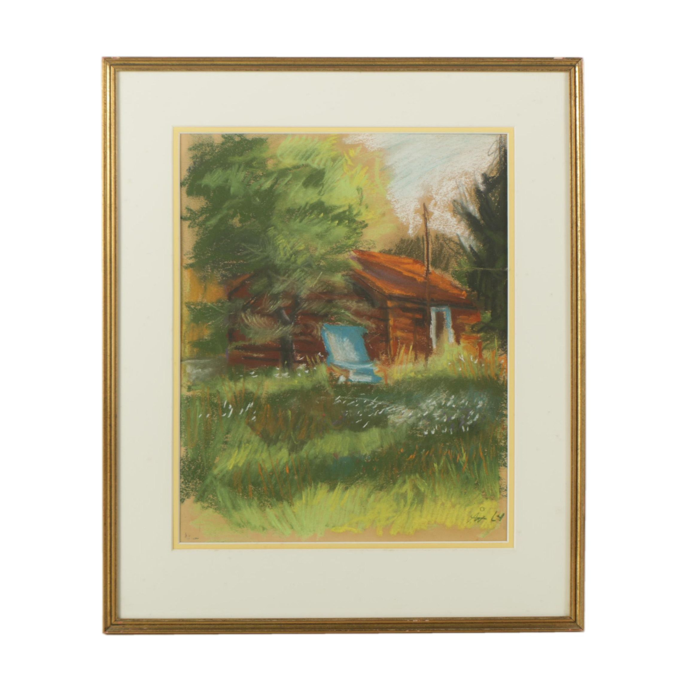 A.W. Pastel Drawing of a Cabin
