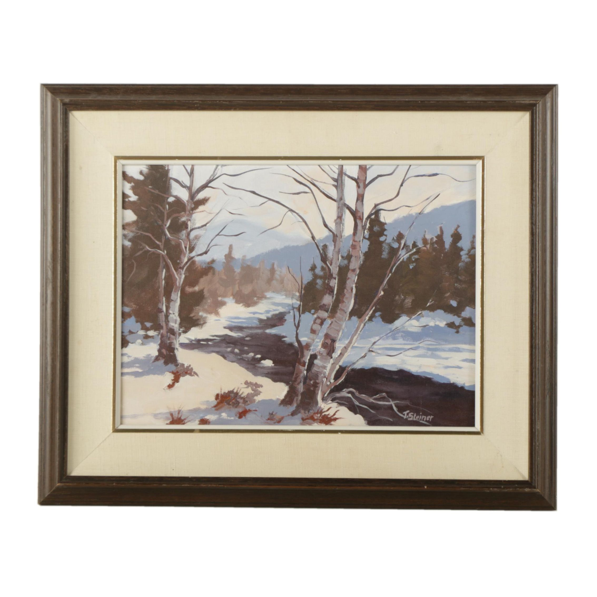 "Tom Steiner Oil Painting on Canvas Board ""Winter in Cherry Creek"""