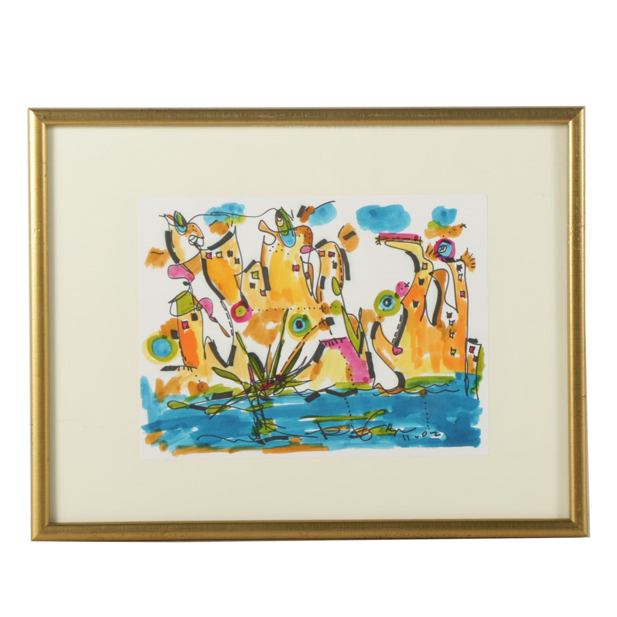 "Regia Marinho Watercolor Painting on Paper ""City River"""