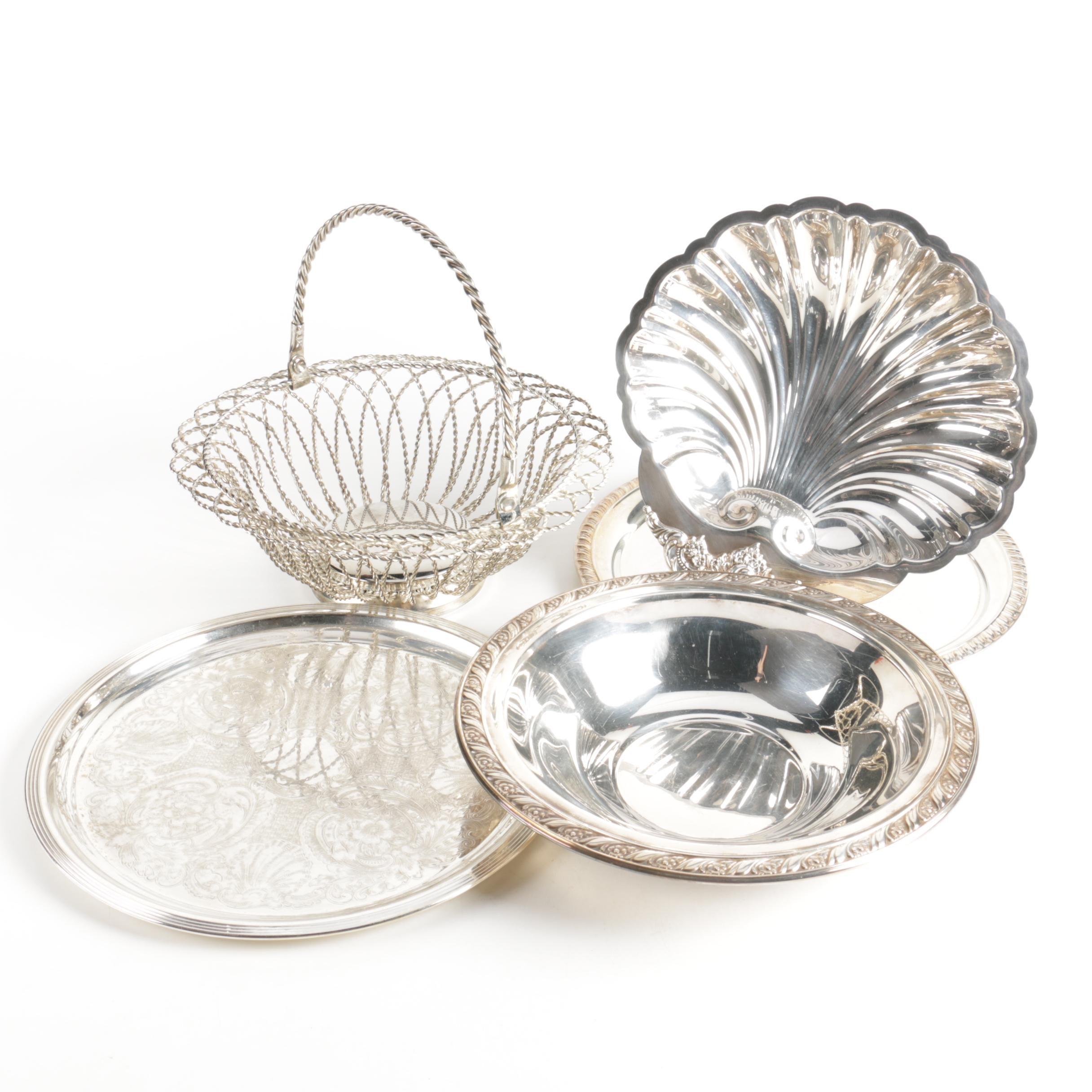 """Wallce """"Baroque"""" Shell Dish and Other Silver Plate Servingware"""