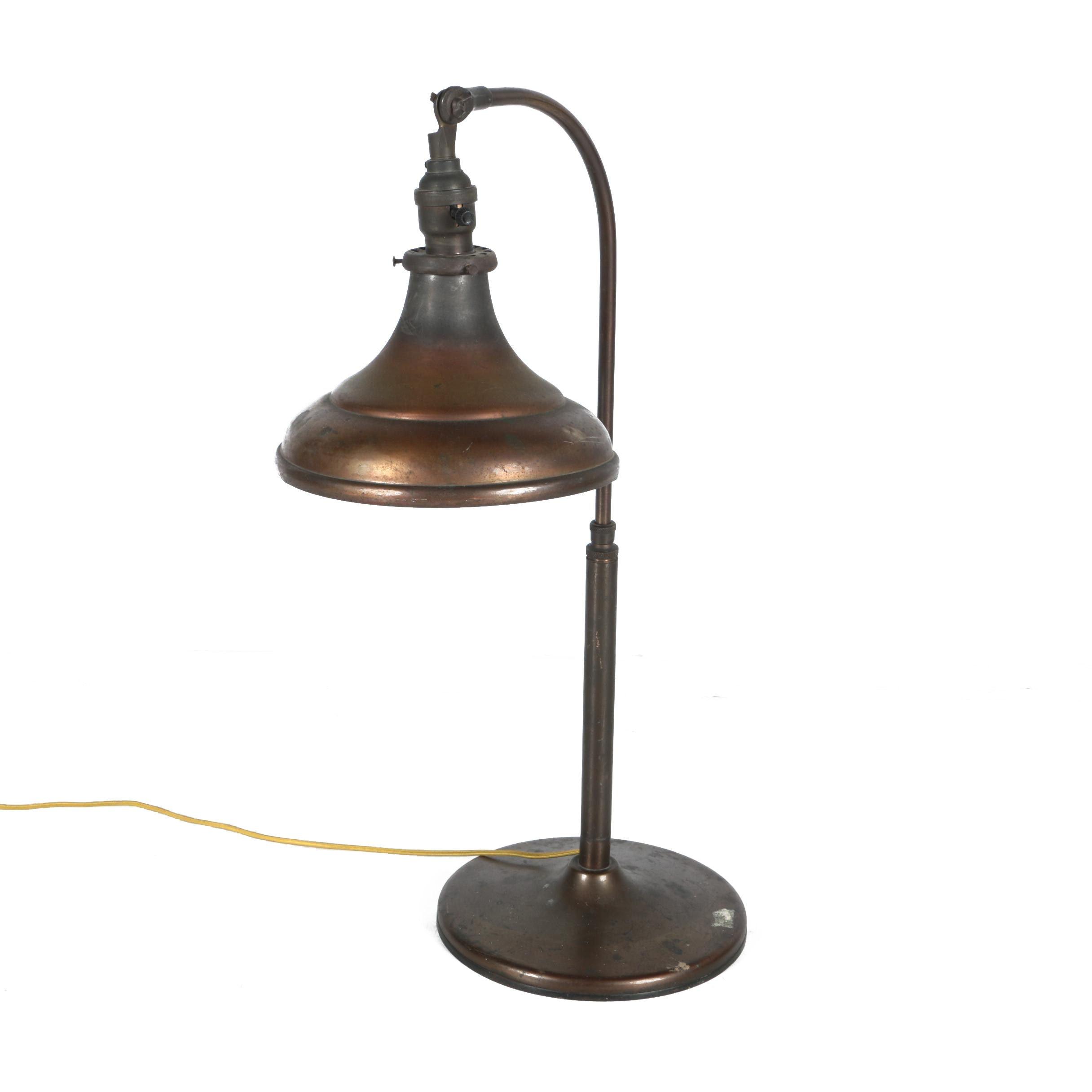 Vintage O.C. White Co. Copper Desk Lamp