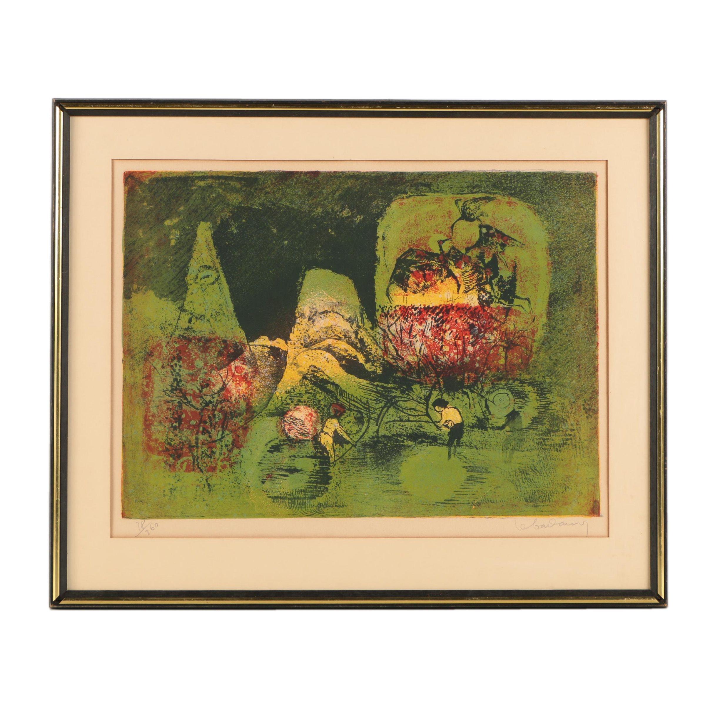 "Lebadang Limited Edition Lithograph on Paper ""Combats d'Oiseaux"""