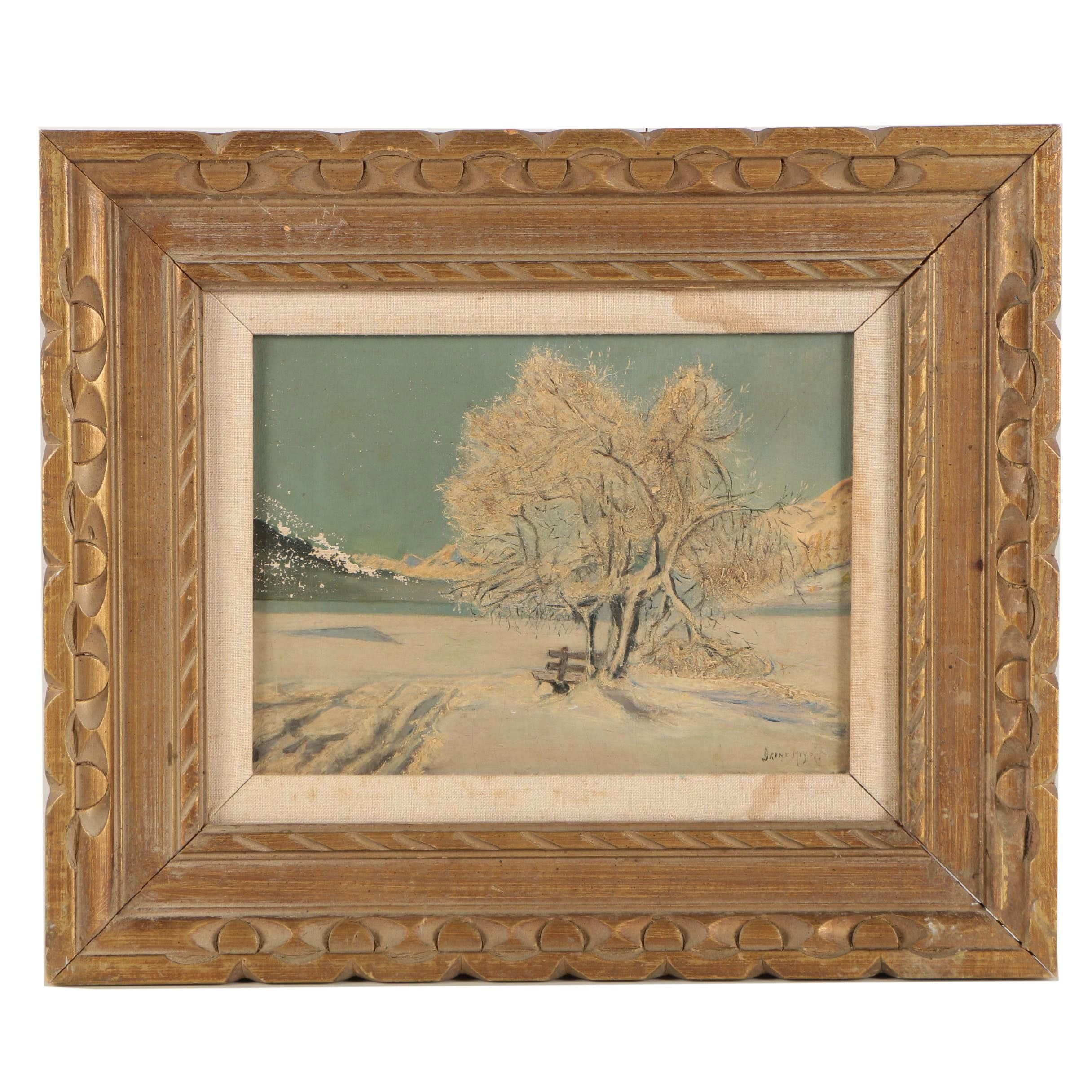 Irene Meyers Oil Painting of a Snowy Landscape