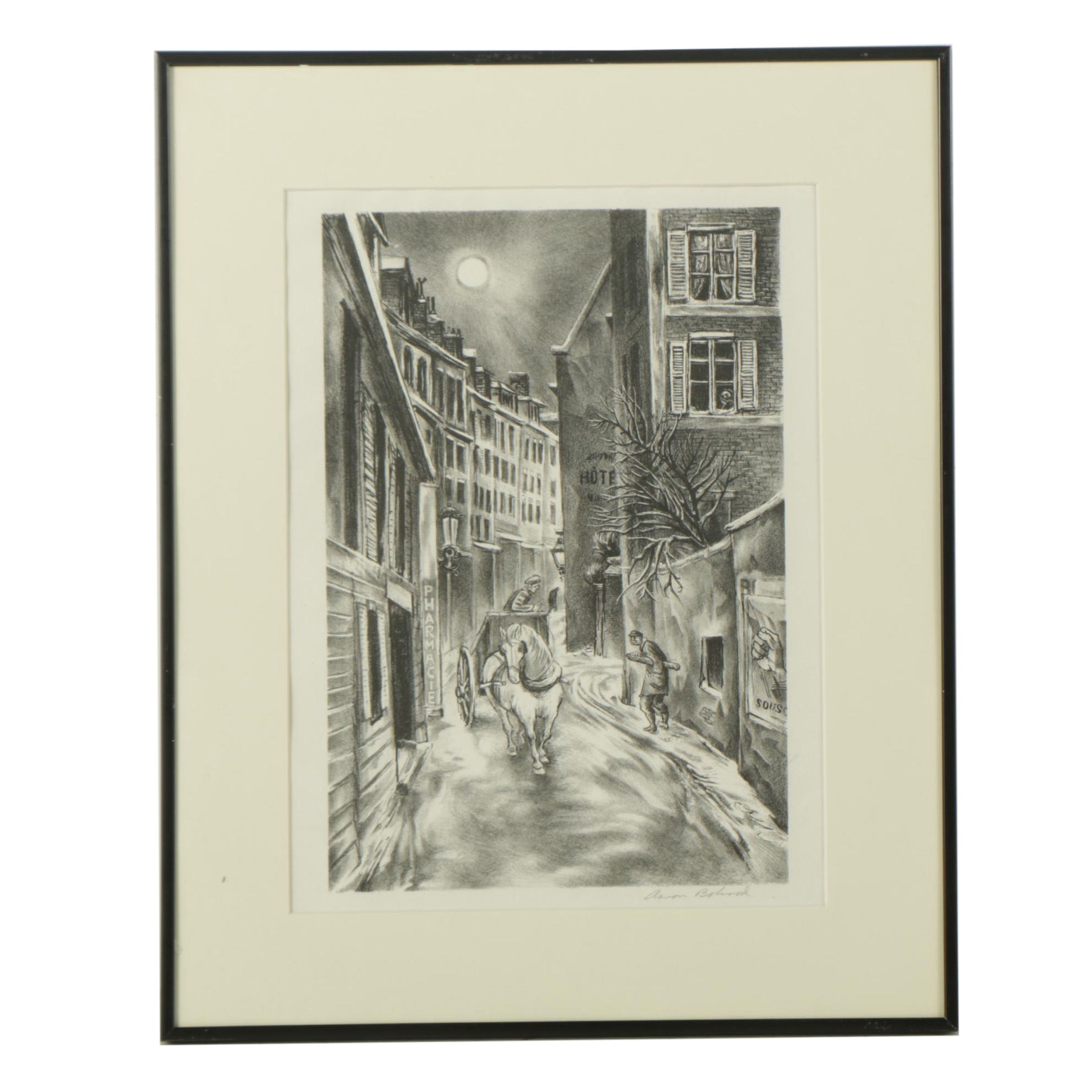 """Aaron Bohrod Lithograph on Paper """"Sun Over Montparnasse"""""""