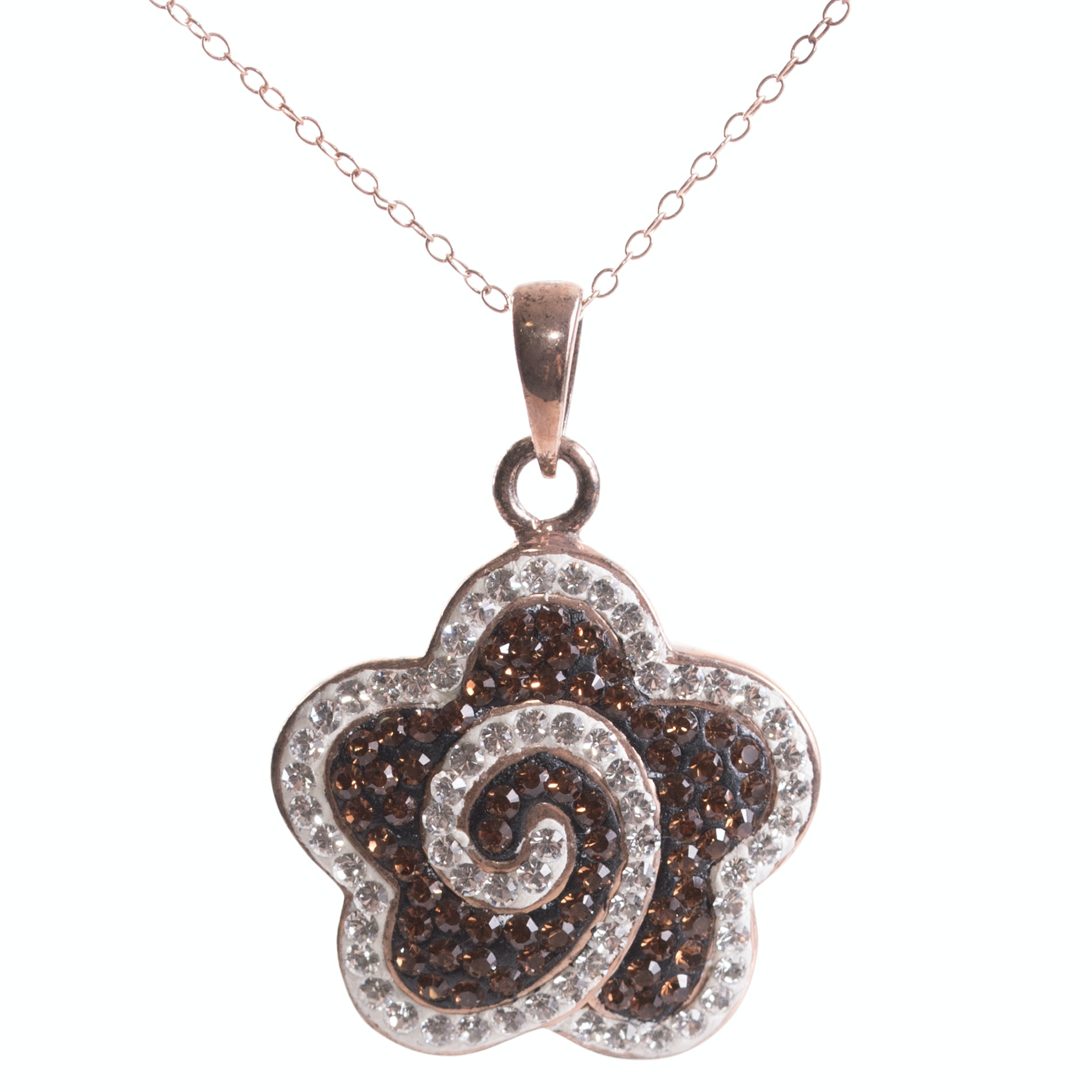 Rose Gold Over Sterling Silver and Crystal Flower Pendant Necklace
