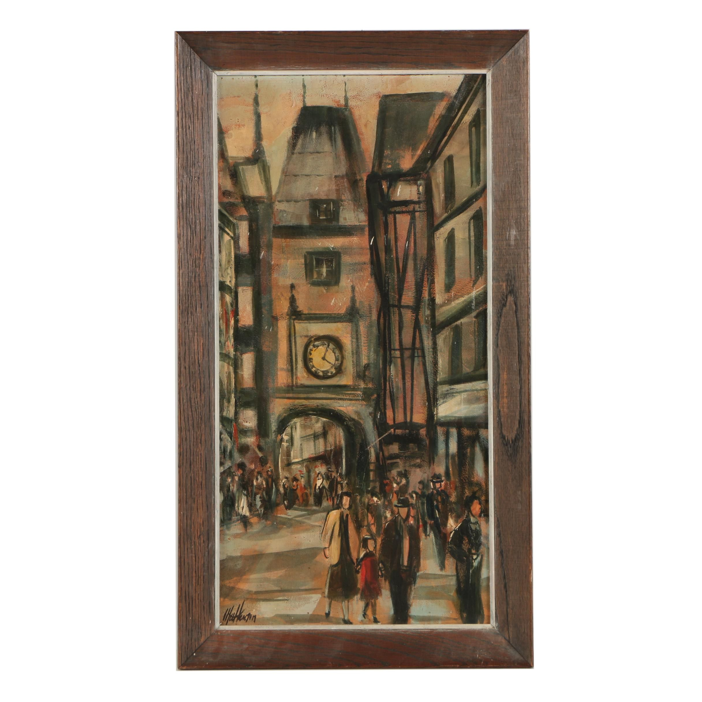 "Oil on Panel ""Clock at Rouen"""