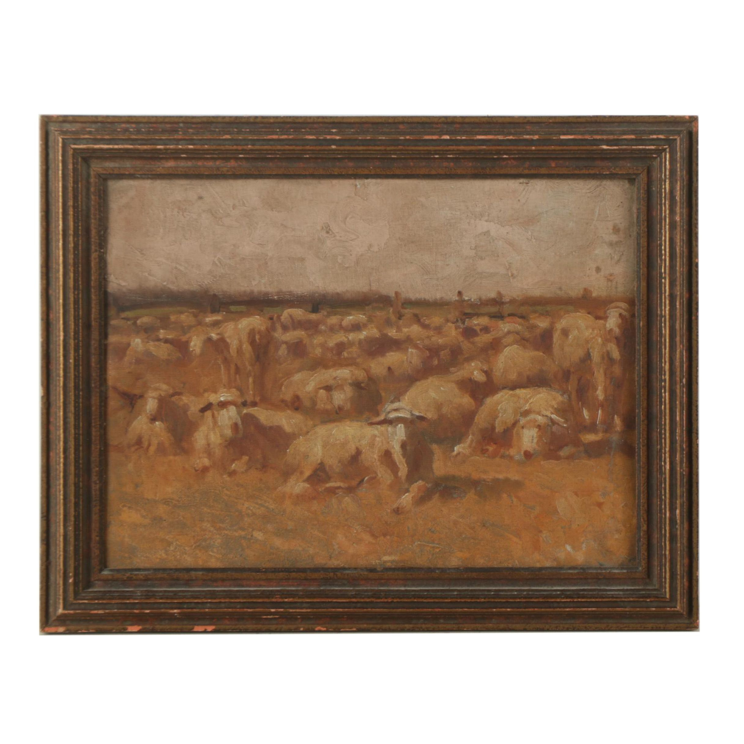 Oil Painting on Canvas Board of a Herd of Sheep