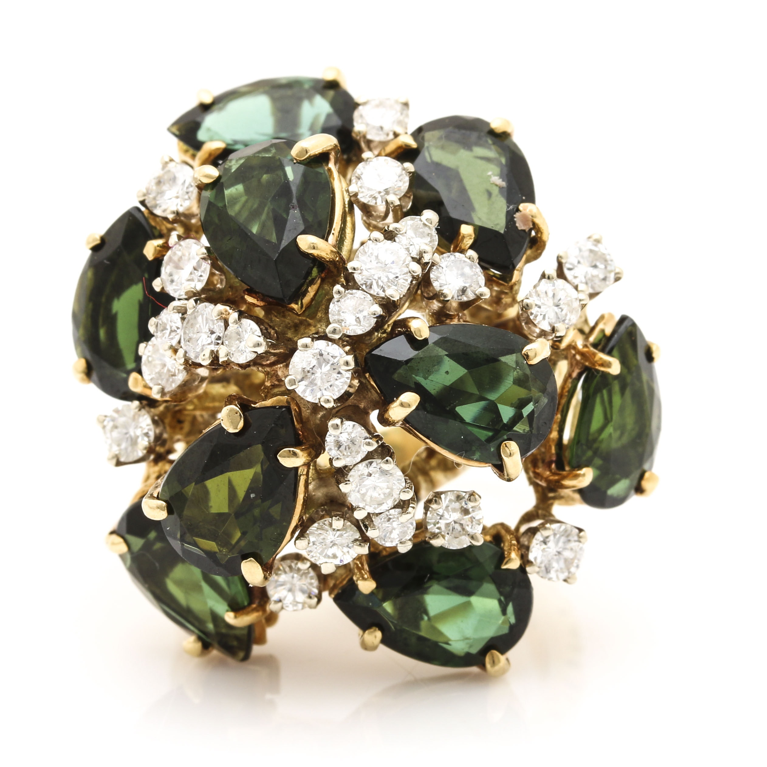 18K Yellow Gold Tourmaline and 1.28 CTW Diamond Cluster Ring