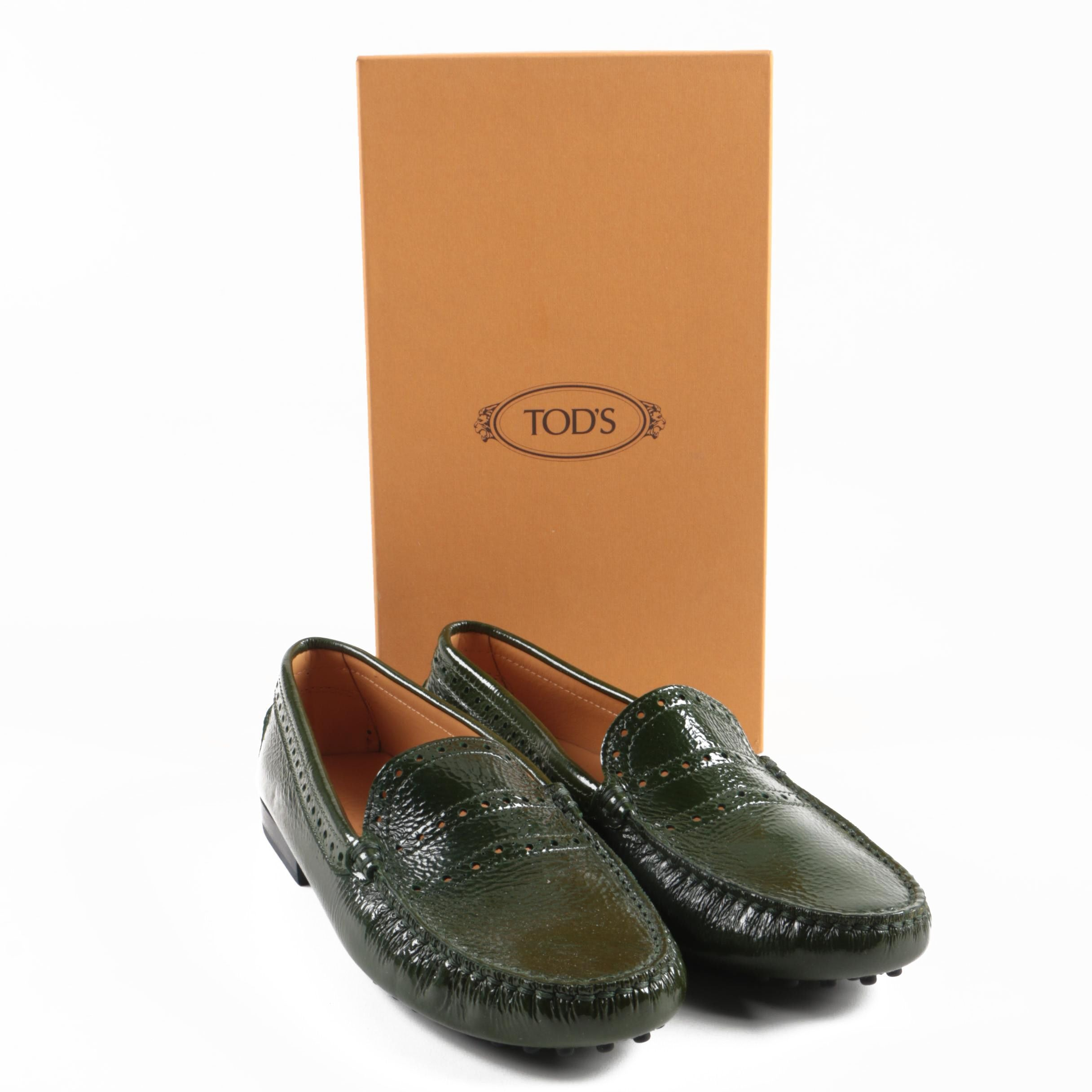 Women's Tod's Green Crushed Patent Leather Loafers