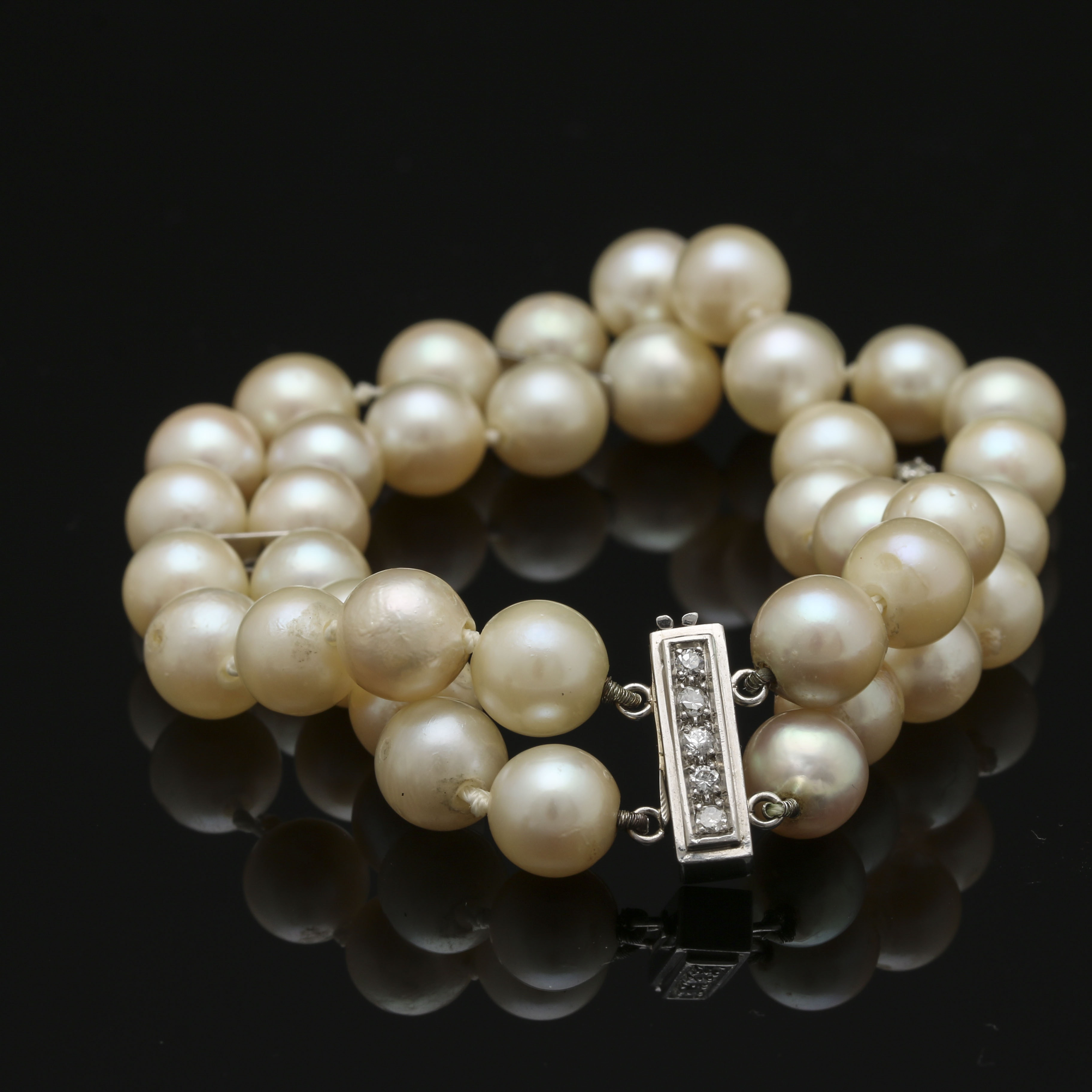Platinum and 18K White Gold Cultured Pearl and Diamond Bracelet