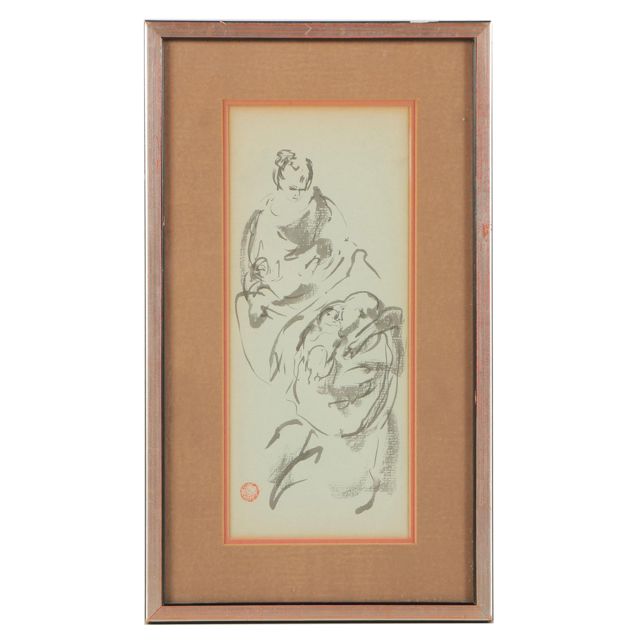 East Asian Style Figural Ink Painting on Rice Paper