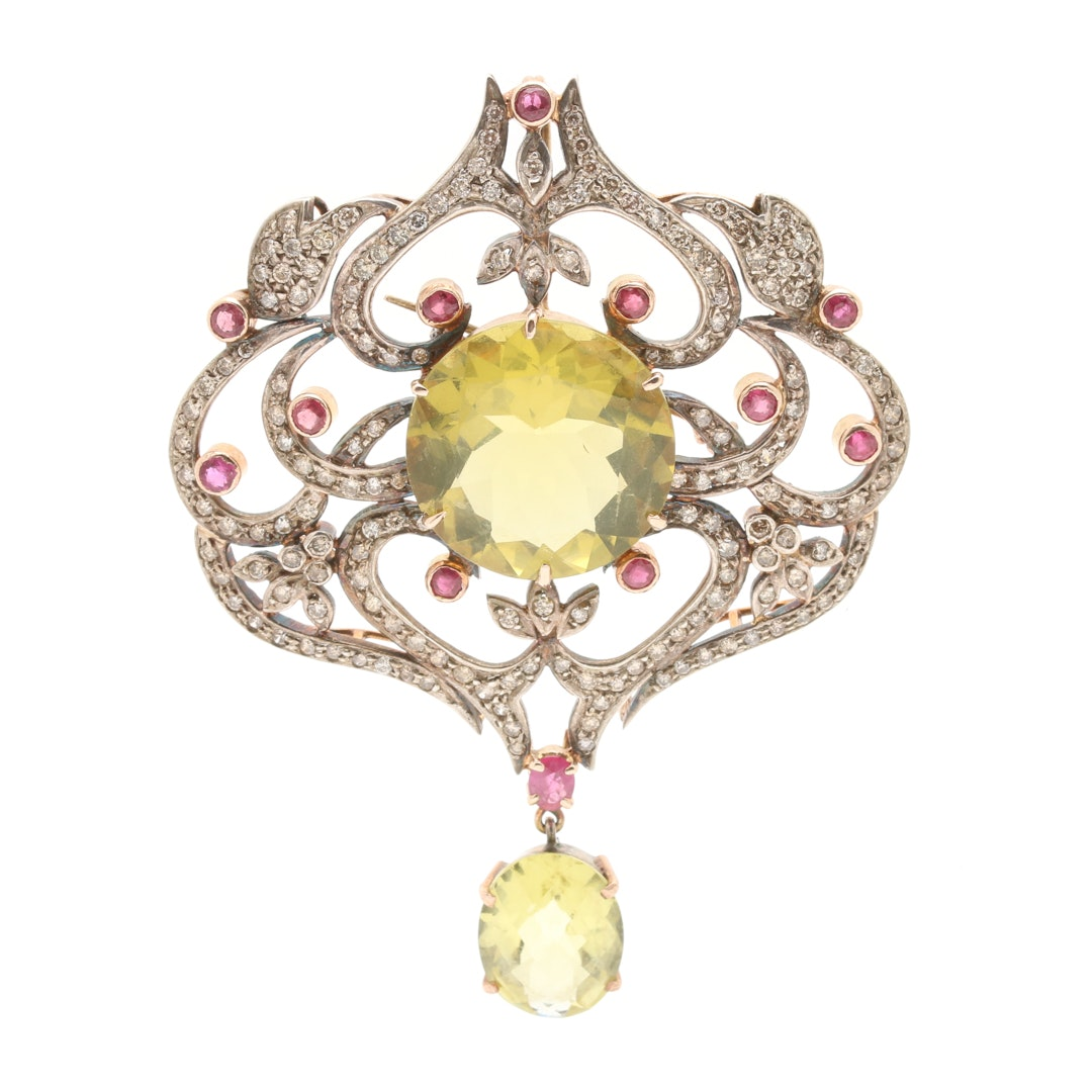 Sterling Silver and 14K Gold Lemon Quartz, Ruby and 2.46 CTW Diamond Brooch
