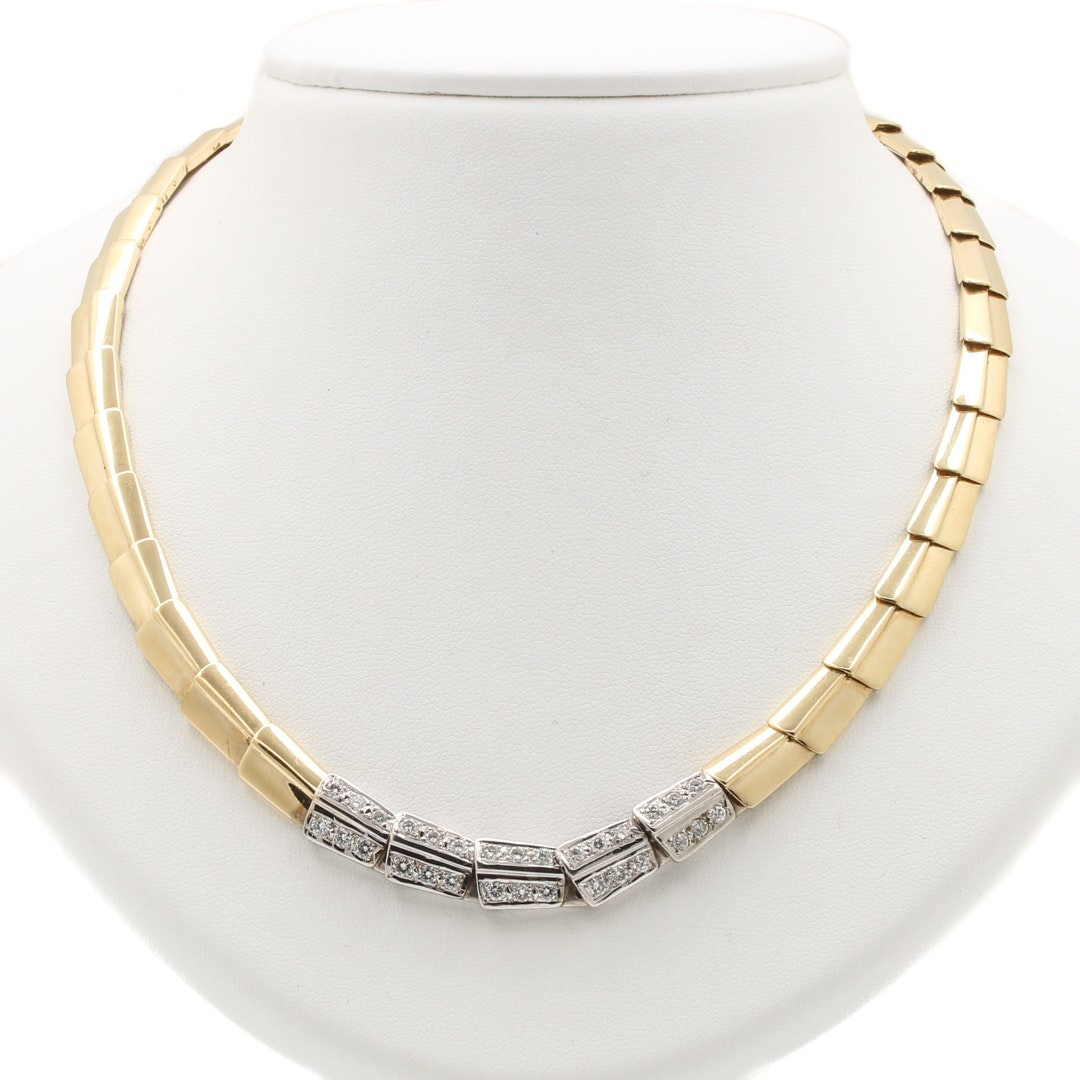 14K Two-Tone Gold 1.35 CTW Diamond Necklace