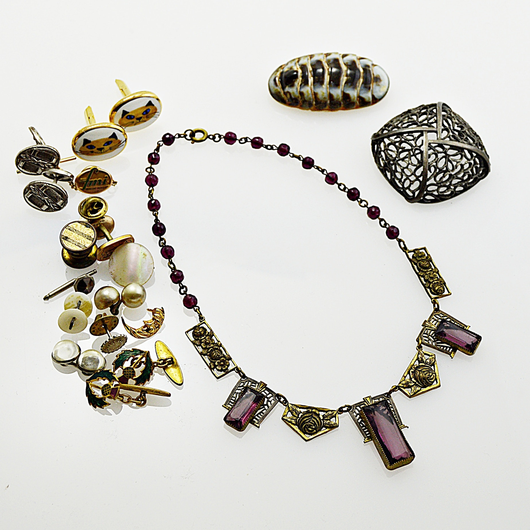 Vintage Jewelry with Chiton Brooch, Art Deco Glass and Brass Necklace