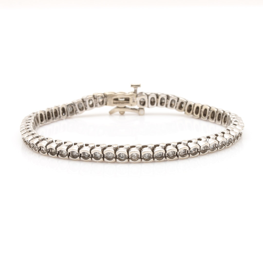 14K White Gold Half Bezel Set 1.65 CTW Diamond Tennis Bracelet